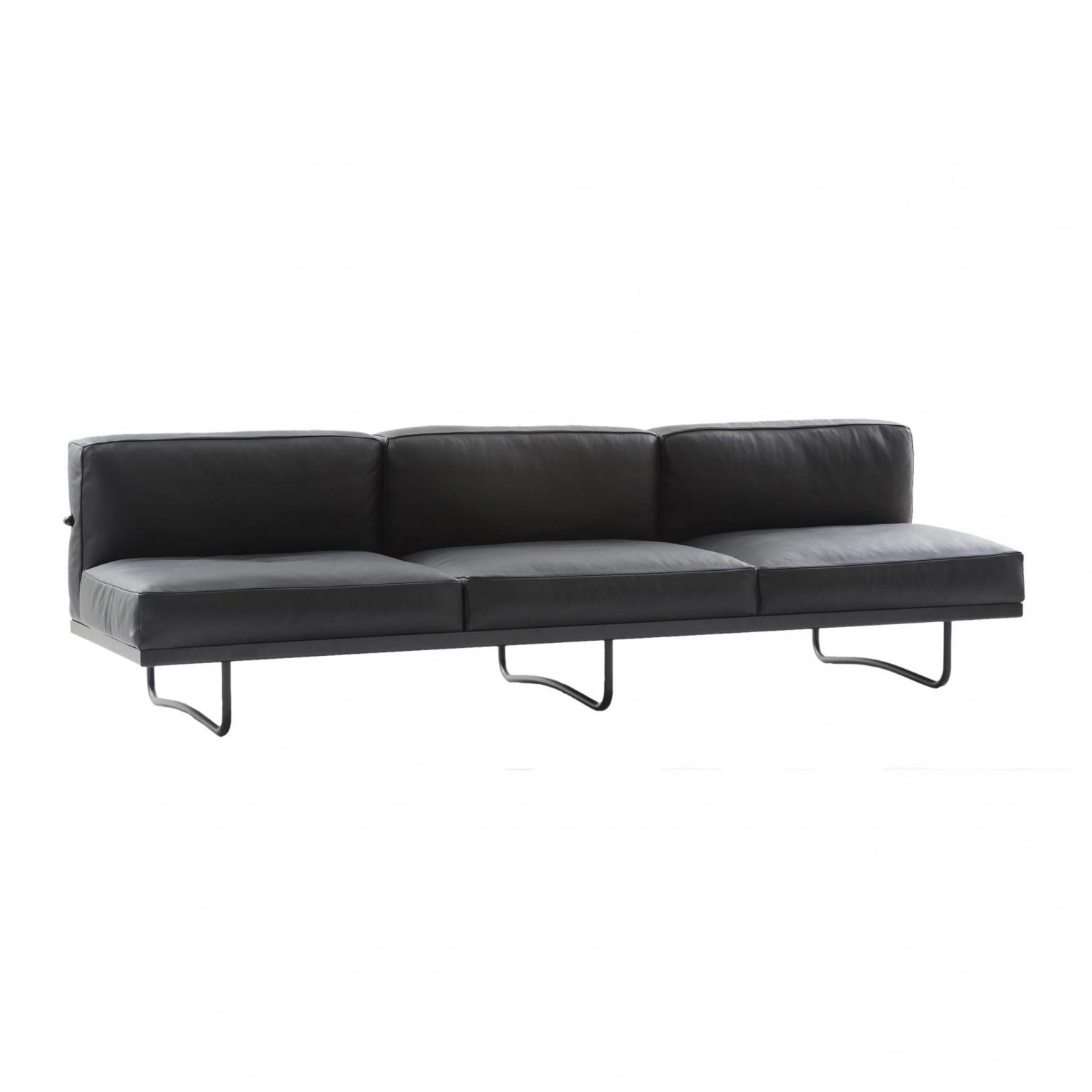 Cassina - Le Corbusier LC5 - Canapé 3 places - graphite/cuir scozia 13X606/structure laqué noir/PxHxP 256x71x78cm
