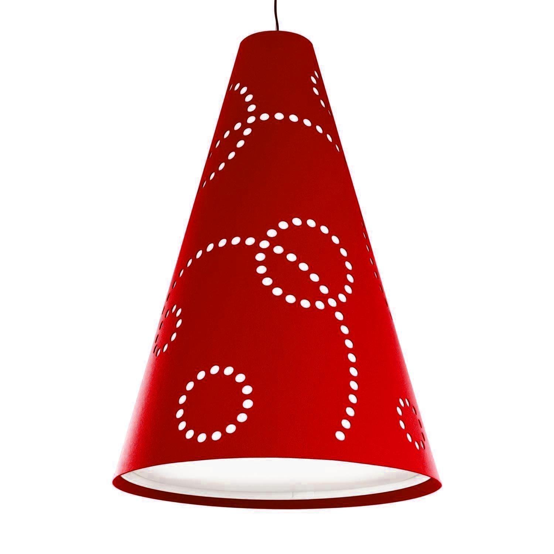 Hey-Sign - Hey-Light Stamp M - Suspension - rouge pavot/feutre/livrée sans source lumineuse/H: 80cm Ø 56cm