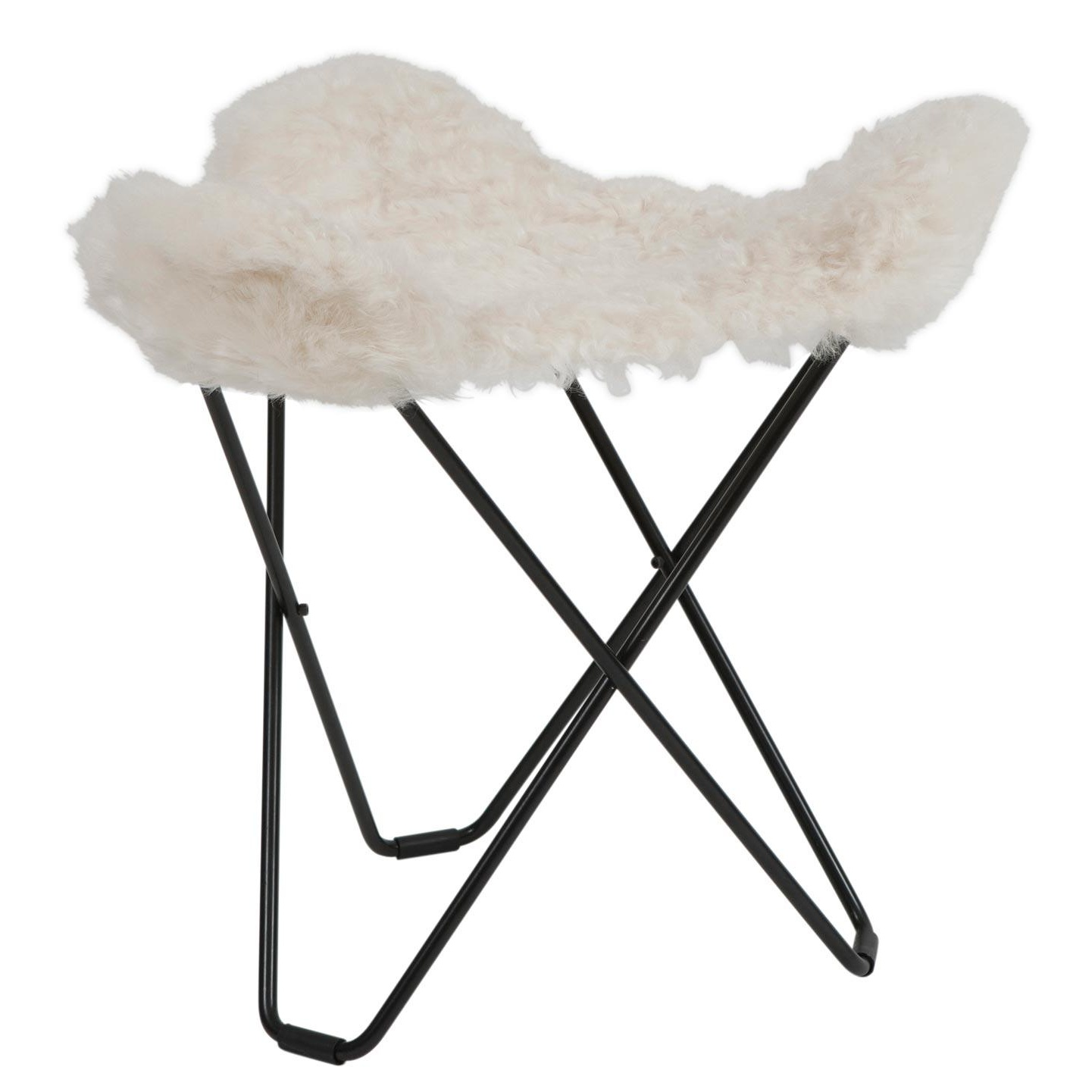 cuero - Flying Goose Iceland - Tabouret - blanc/agneau islandais Shorn White/châssis noir