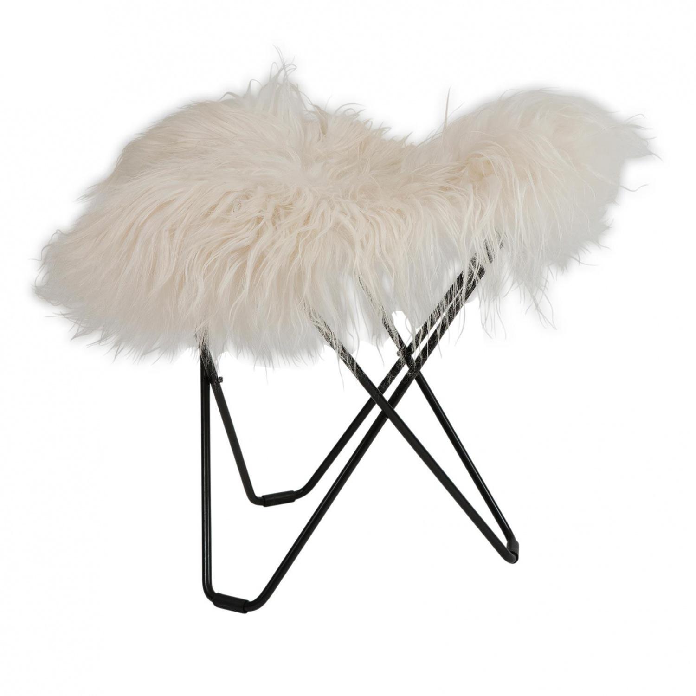 cuero - Flying Goose Iceland - Tabouret - blanc/agneau islandais Wild White/châssis noir