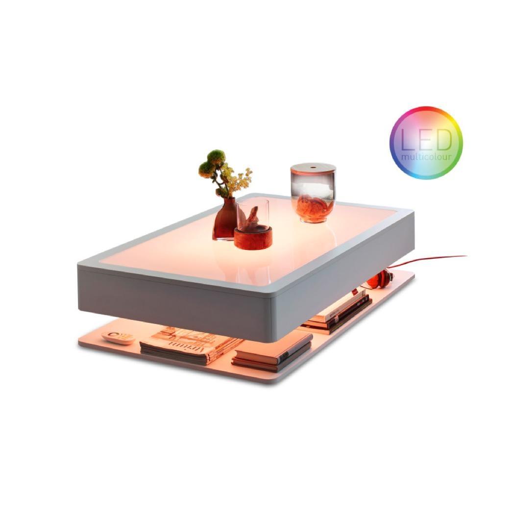 Moree - Ora HOME LED PRO - Table d'Appoint - blanc/toutes couleurs RGB/verre/110x70x29cm/cable rouge/avec éloigné
