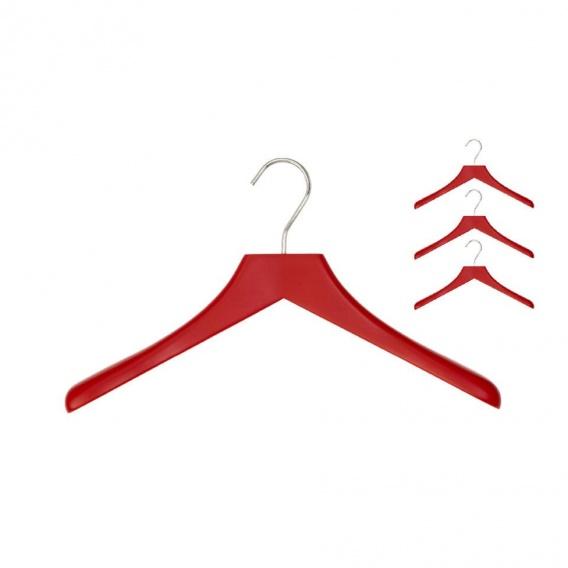 Schönbuch - 0112 Kleiderbügel 4er Set - tomatenrot/Haken poliert verchromt/BxHxT 39|5x22|5x4cm | Flur & Diele > Garderoben > Kleiderbügel | Tomatenrot | Massivholz| metall | Schönbuch