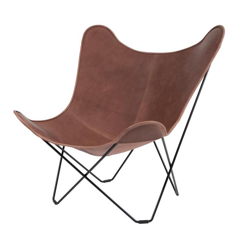 cuero - Leather Mariposa Butterfly Chair - Fauteuil - marron clair/cuir italien/piètement noir