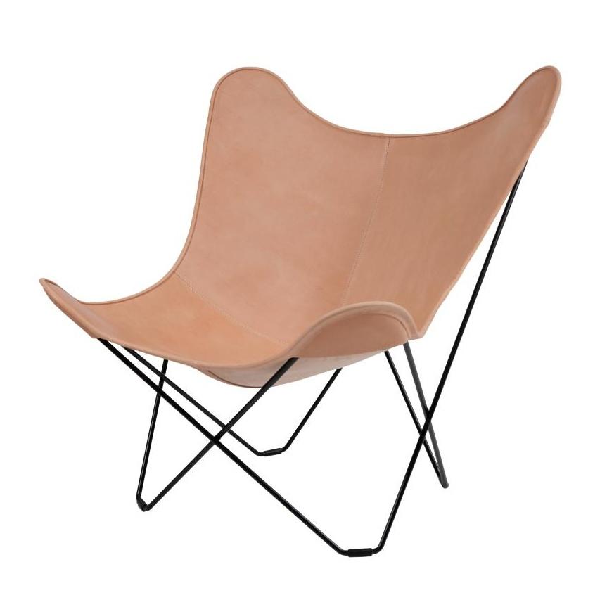 cuero - Leather Mariposa Butterfly Chair - Fauteuil - naturel/cuir italien/piètement noir
