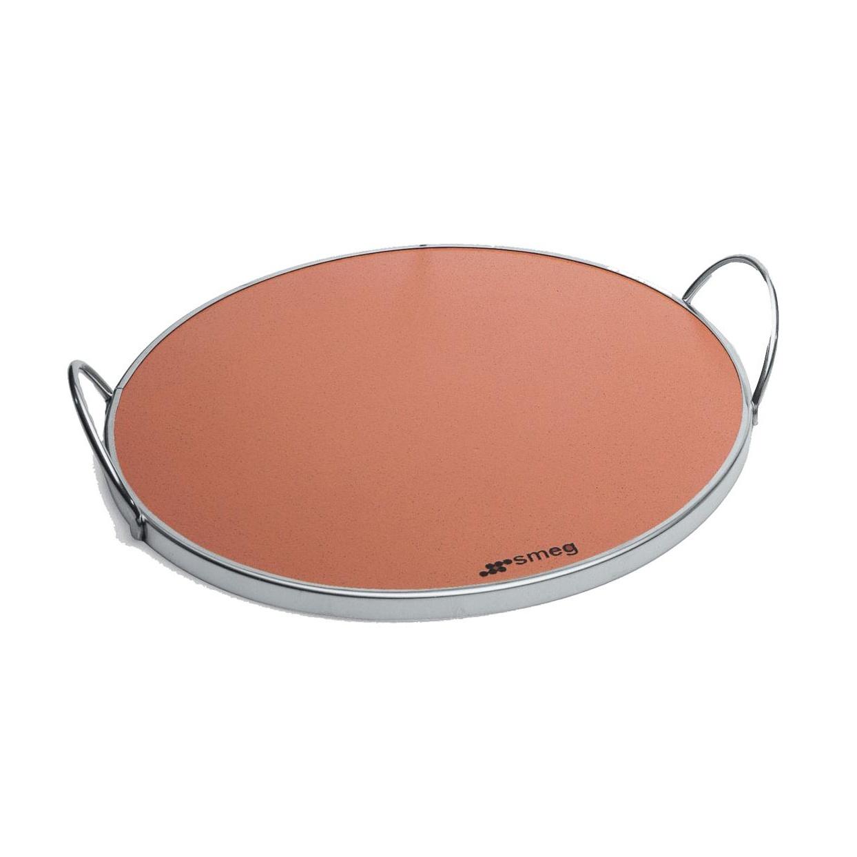 Smeg - Pizzastein Ø 35cm - braun/lasiert/2 Griffe/Metalleinfassung verchromt   Küche und Esszimmer > Kochen und Backen > Küchenhelfer   Smeg