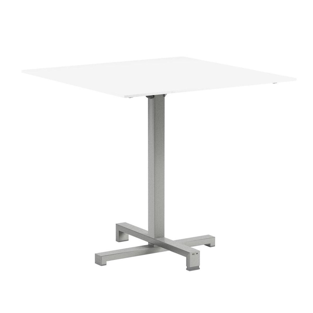 Royal Botania - Taboela - Table pliante structure acier - blanc/céramique/LxPxH 80x80x75cm/châssis acier inoxydable brossé