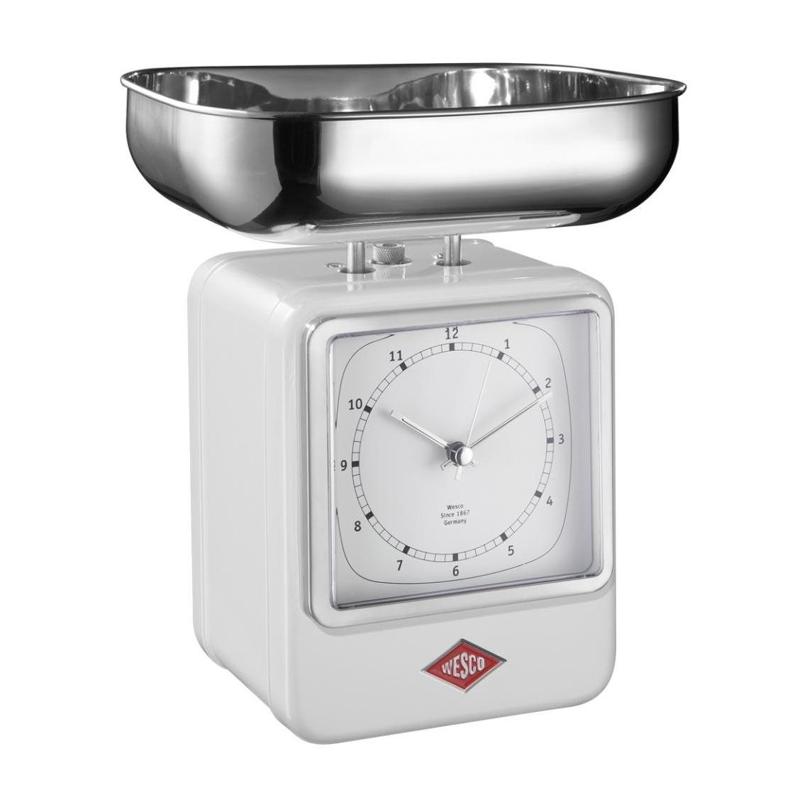 Wesco Retro Waage mit Uhr - weiß/15x27x13cm | Küche und Esszimmer > Küchengeräte > Küchenwaagen | Weiß | Stahl| gummi | Wesco