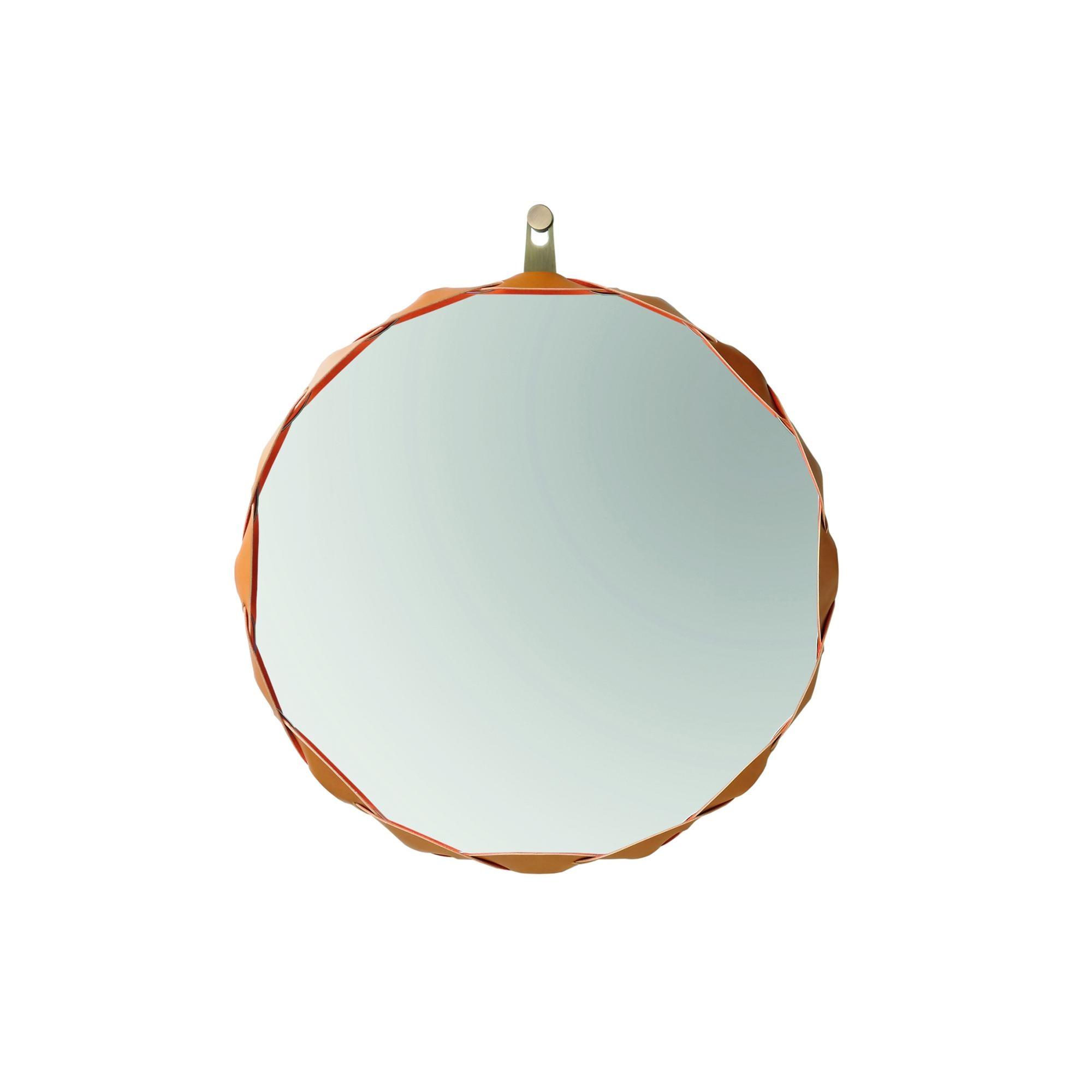 Zanotta - Raperonzolo Spiegel Ø 51cm - gold/Leder/Stoff Alcantara/Innenseite mit Stoff durchflochten | Flur & Diele | Zanotta