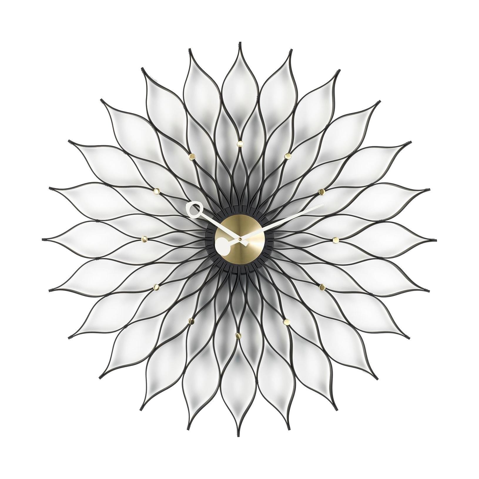Vitra - Sunflower Clock Nelson Wanduhr - messing/schwarz/Ø75cm/Quarz-Uhrwerk | Dekoration > Uhren > Wanduhren | Vitra