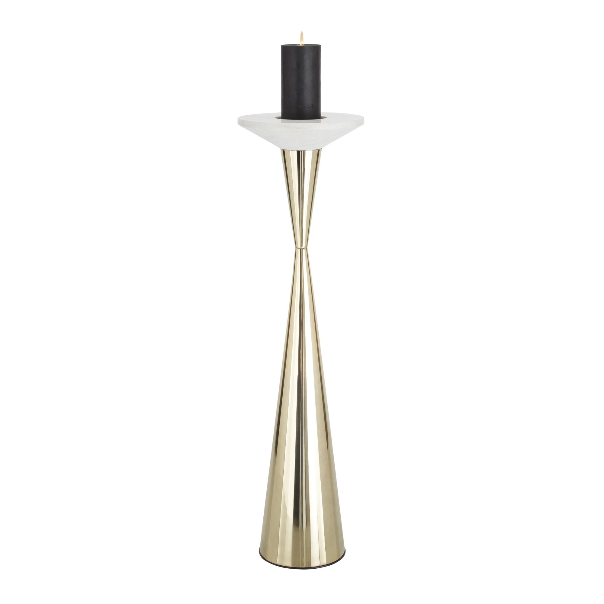 Tom Dixon - Stone Candle Holder H:91cm - brass/white/H 91cm/Ã 25cm