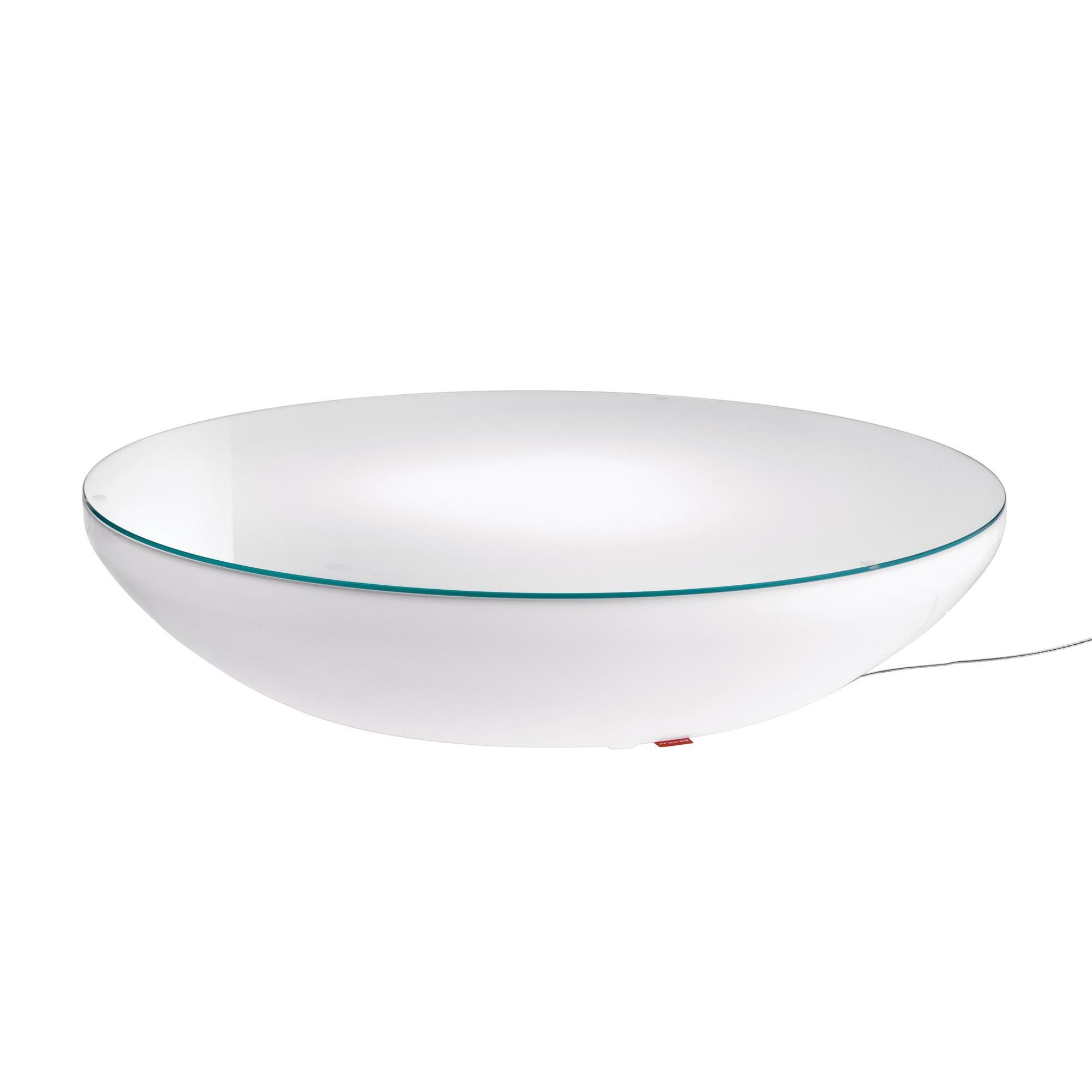 Moree - Lounge Variation LED Pro Leuchttisch - weiß/transluzent/inkl. Glas-Tischplatte/Multicolor LEDs/Infrarot (IR)/mit Fernbedienung/H 18cm/Ø 84 | Wohnzimmer > Tische > Glastische | Weiß|transluzent | Abs|pmma glänzend beschichtet|uv beständig | Moree