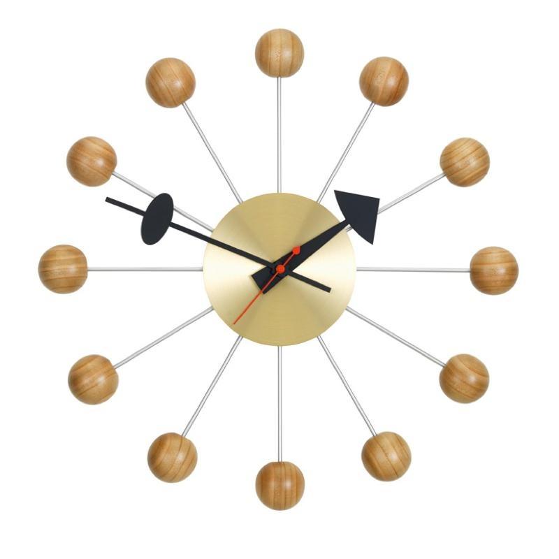 Vitra - Ball Clock Nelson Wanduhr - kirschbaumholz/chrom/Ø33cm | Dekoration > Uhren > Wanduhren | Vitra