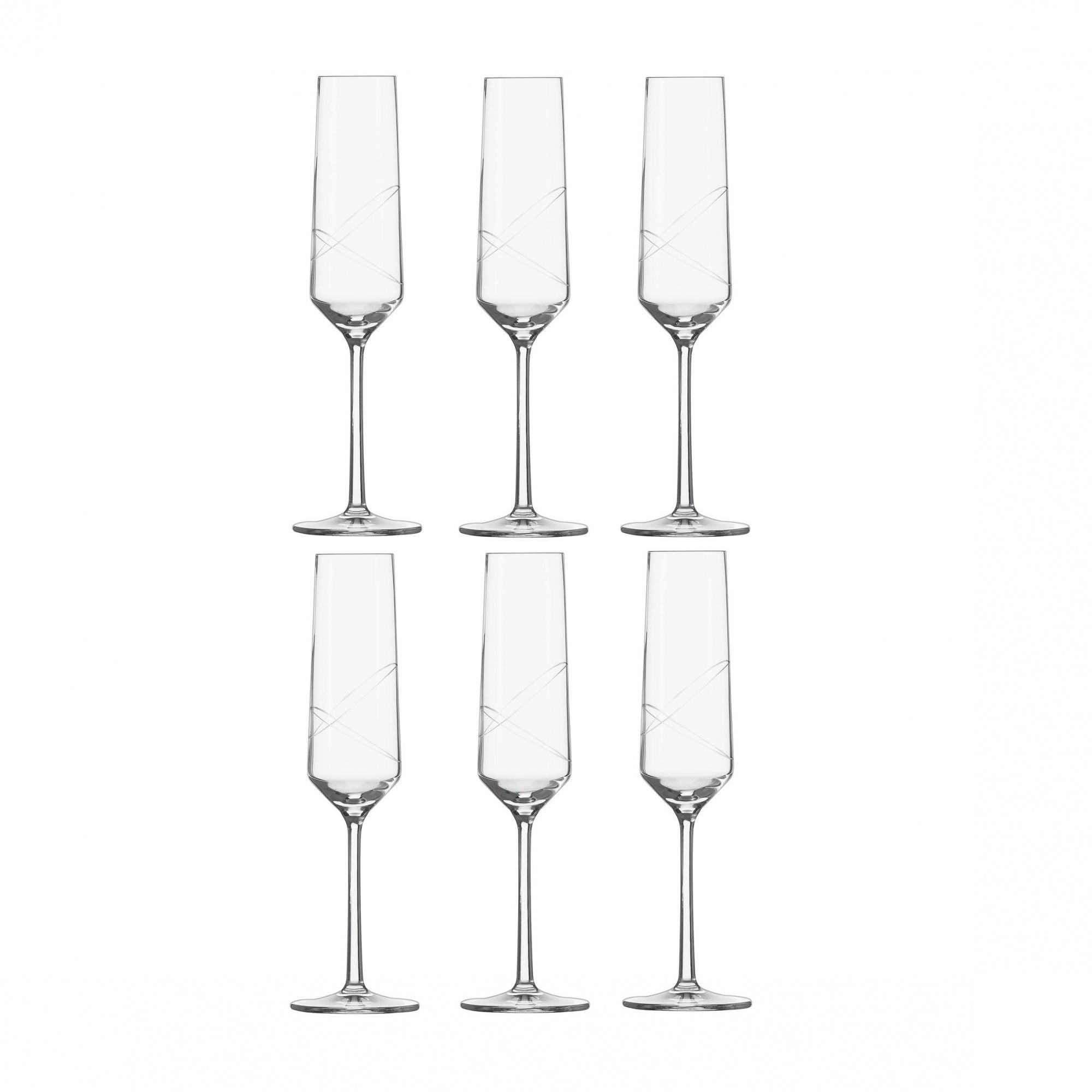 Schott Zwiesel - Pure Loop Sektglas 6er Set - transparent/Tritan® Kristallglas/215ml/H: 25.2cm/mit Moussierpunkt | Küche und Esszimmer > Besteck und Geschirr > Gläser | Schott Zwiesel