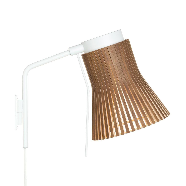 Secto Design - Petite 4630 - Applique murale - noix naturel/feuille de placage/2800K/480lm/structure laque blanc/câble blanc