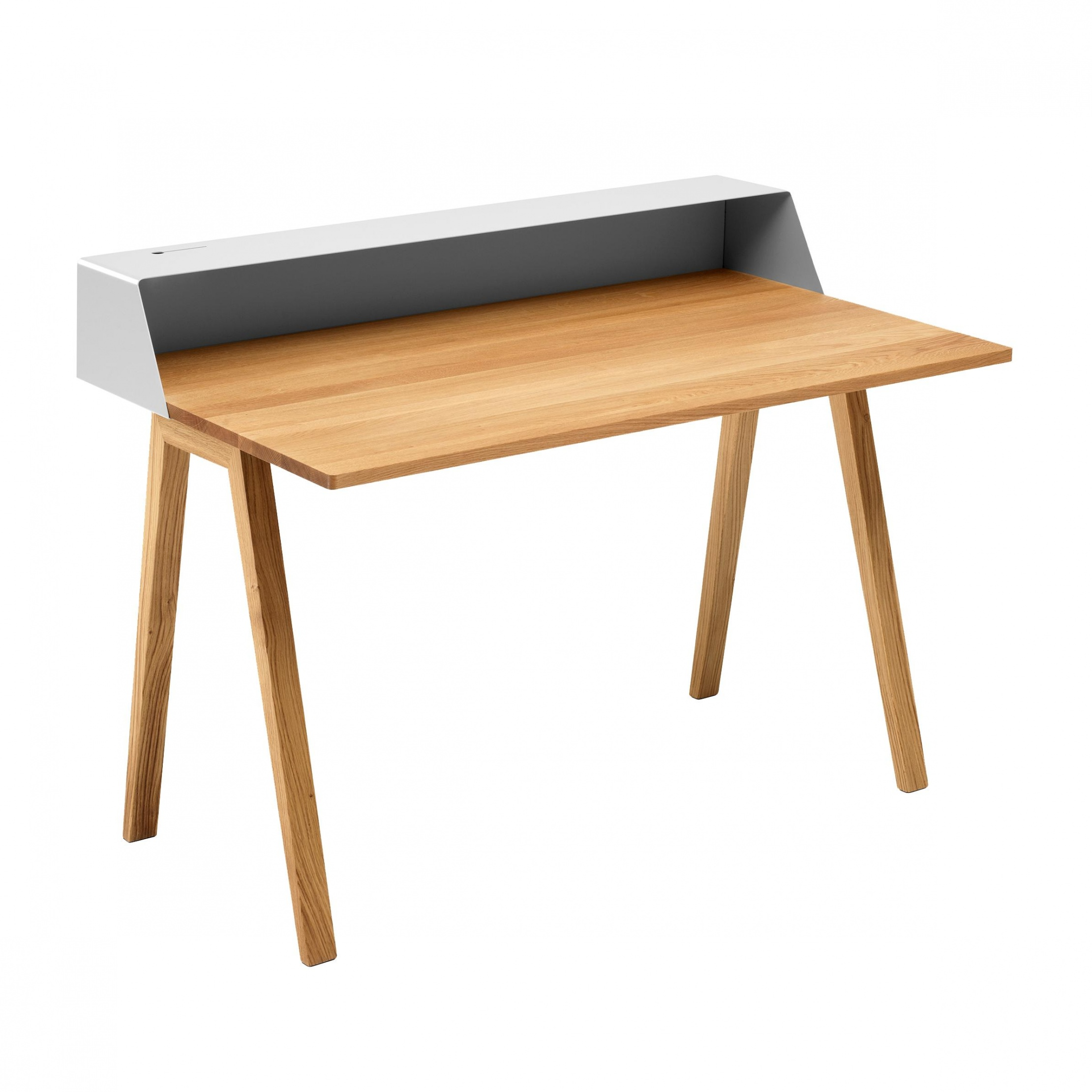 müller möbelfabrikation - PS05 - Secrétaire 120x75cm - blanc signal RAL 9003/mat/support en chêne/table top solid oak wood oiled