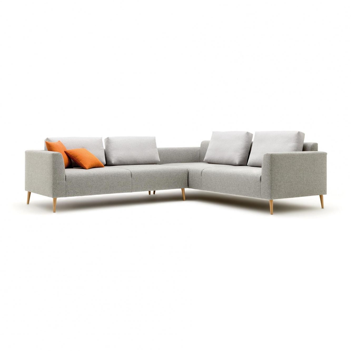 freistil Rolf Benz - freistil 162 - Canapé d'angle 289x232cm - gris télé clair/support en chêne/étoffe 7805/2x coussins haut& 2x coussins bas �