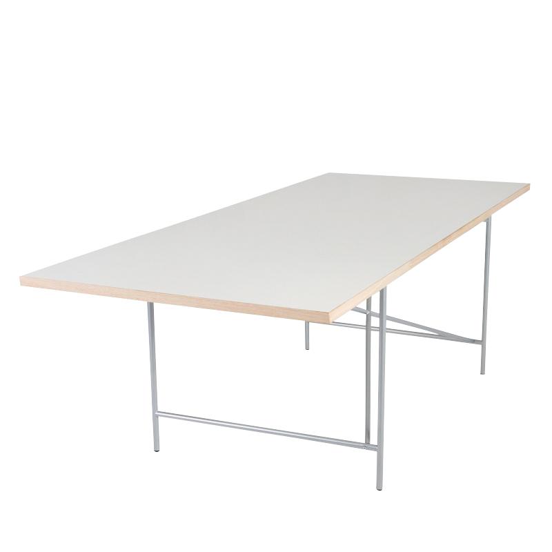 Richard Lampert - Eiermann 1 - Table avec châssis excentré - blanc/chants chêne/châssis métal ar/Set de règlage de la hauteur de 3,5/200x90cm