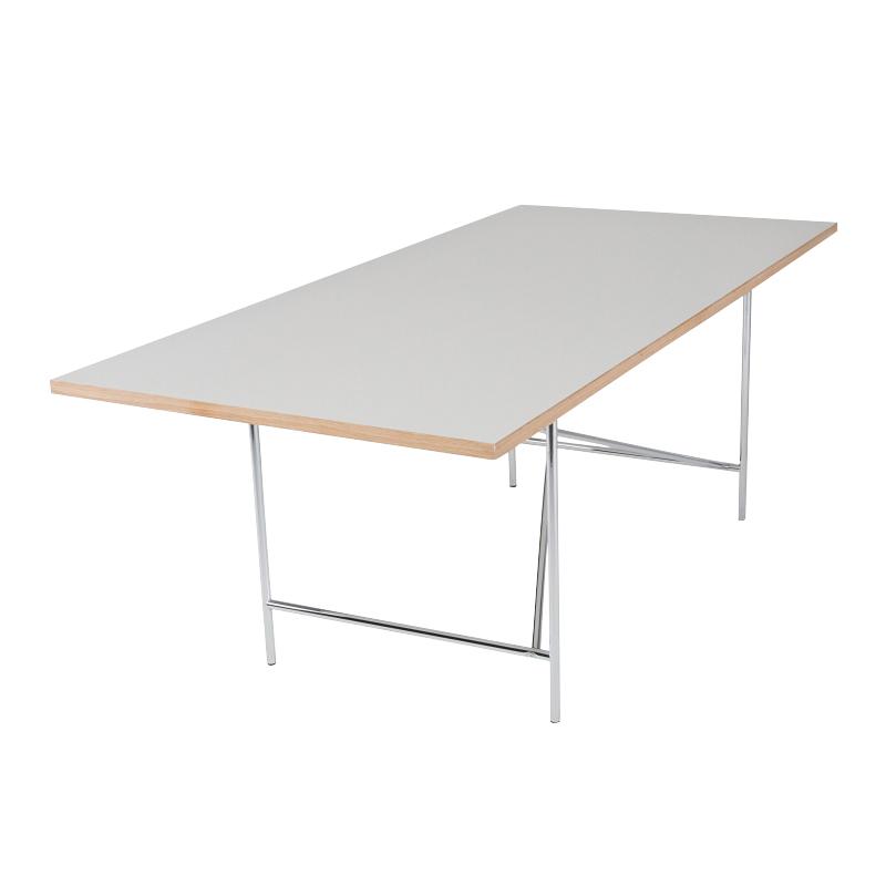 Richard Lampert - Eiermann 1 - Table avec châssis excentré - blanc/chants chêne/châssis métal ch/Set de règlage de la hauteur de 3,5/180x90cm