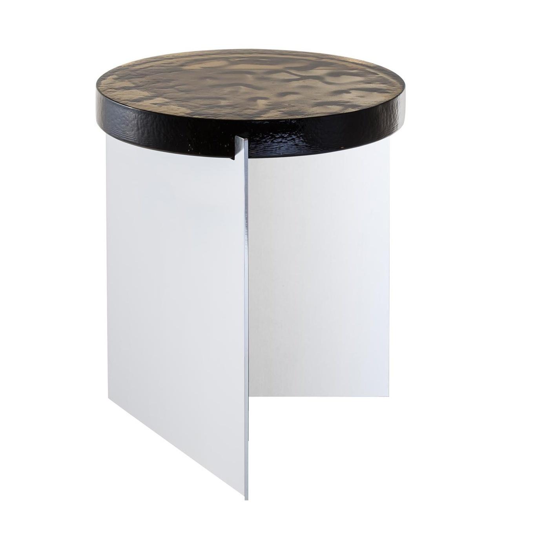 pulpo - Alwa One - Table d'appoint H 44cm - gris fumé/structure chrome/H 44cm / Ø 38cm