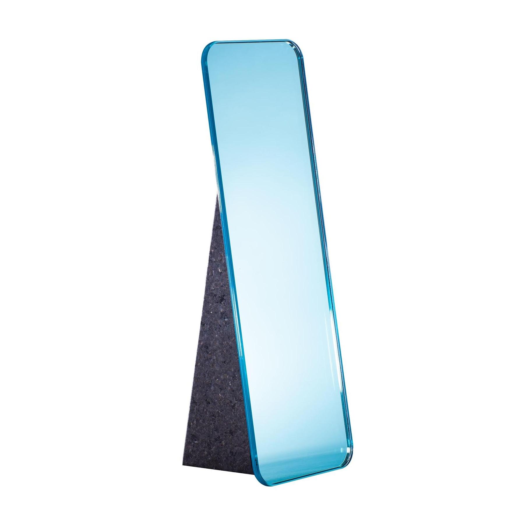 pulpo - Olivia Tischspiegel H 38cm - hellblau/Standfuß schwarz/LxBxH 15x13x38cm | Flur & Diele > Spiegel > Standspiegel | pulpo