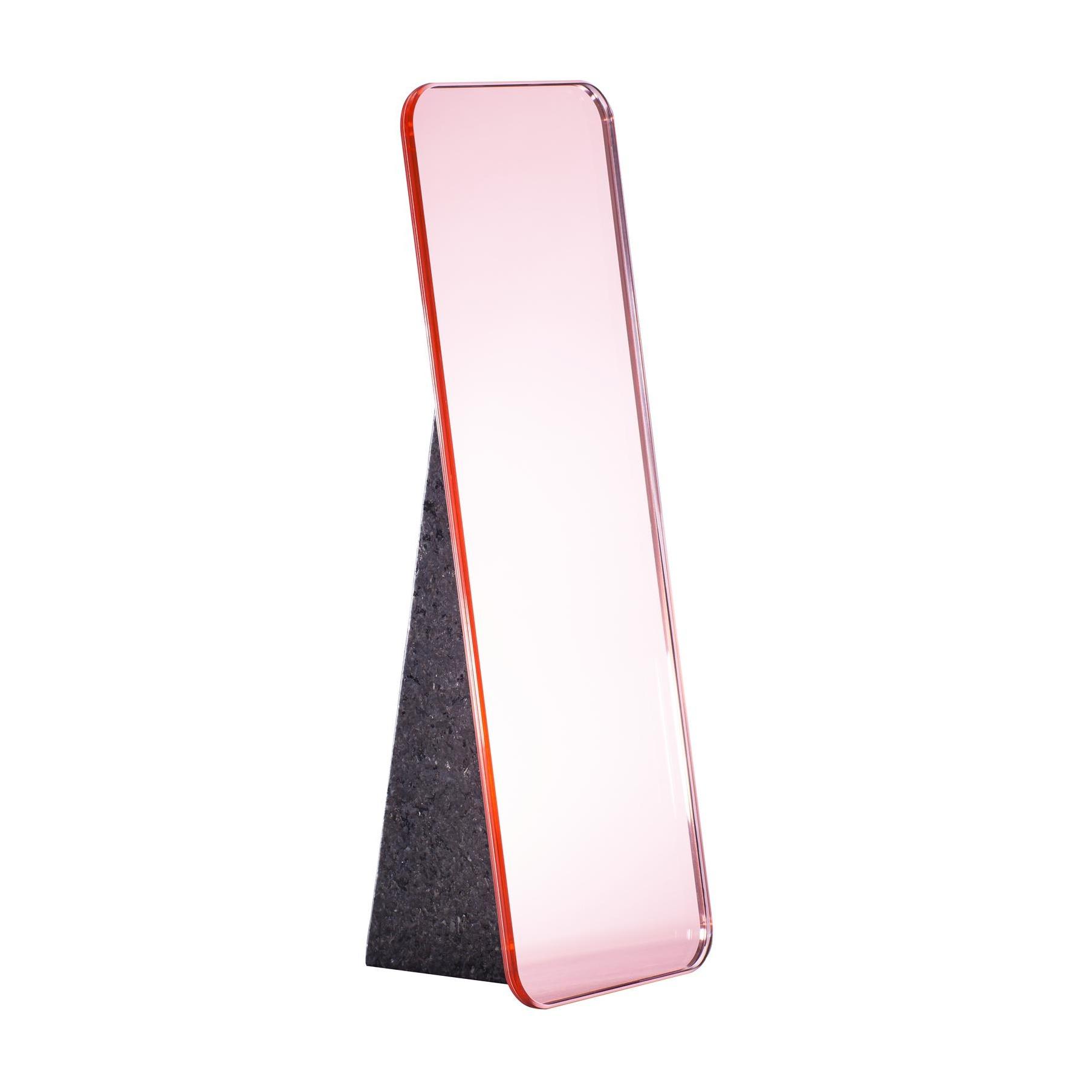 pulpo - Olivia Tischspiegel H 38cm - rosa/Standfuß schwarz/LxBxH 15x13x38cm | Flur & Diele > Spiegel > Standspiegel | Rosa | Spiegelglas| stein | pulpo