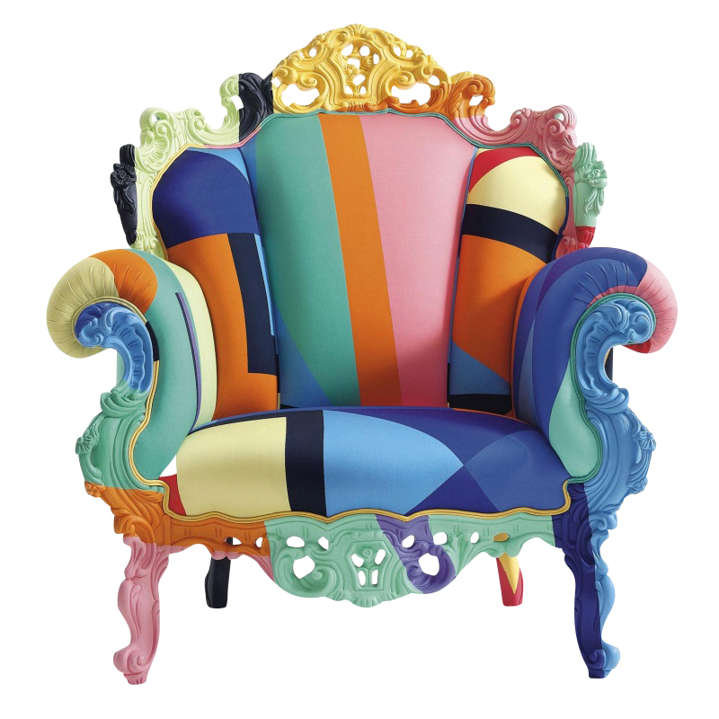 Cappellini - Proust Geometrica Mendini - Fauteuil - divers/téxtile/carved and painted by hand wooden frame