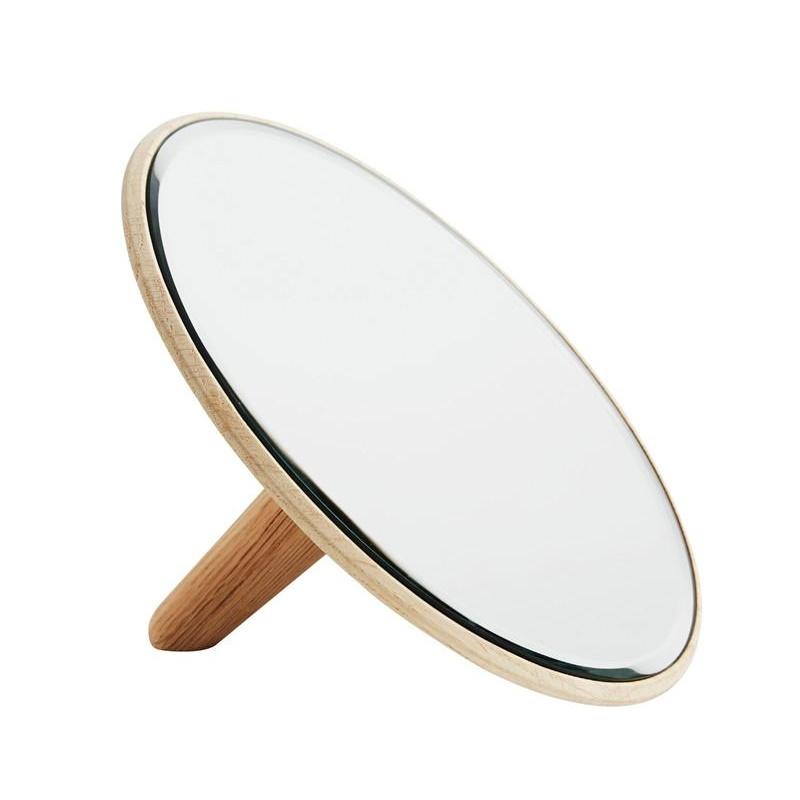 Woud - Barb Kosmetikspiegel - eiche/spiegel/lackiert/Ø x H: 26 x 6cm/Größe 2 | Bad > Bad-Accessoires > Kosmetikspiegel | Eiche|spiegel | Acrylglas| holz | Woud