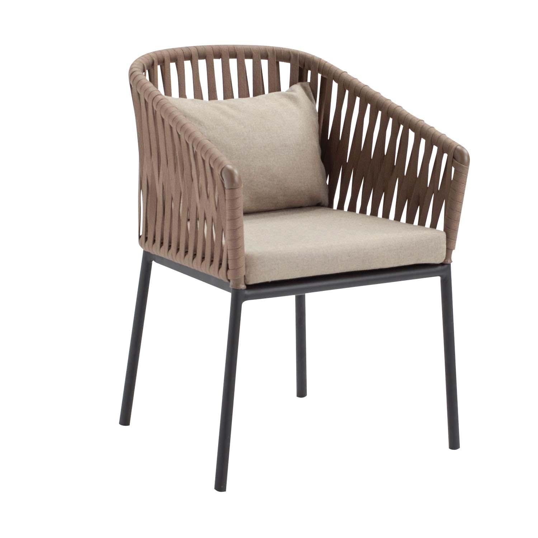 Kettal - Bitta - Chaise avec accoudoirs de jardin - wet sand/honeysuckle/étoffe 287 wet sand laminate/corde 453 honeysuckle/structure aluminium 726