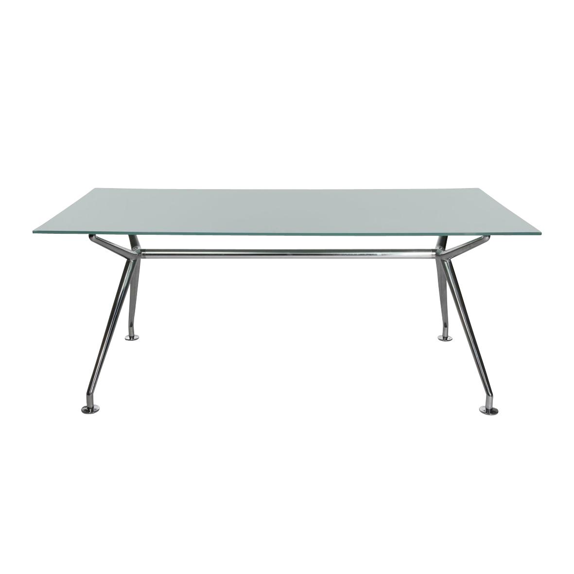 Wagner - W-Table rectangulaire - Table de conférence - verre dépoli/classic/structure aluminium poli/LxPxH 220x110x73cm