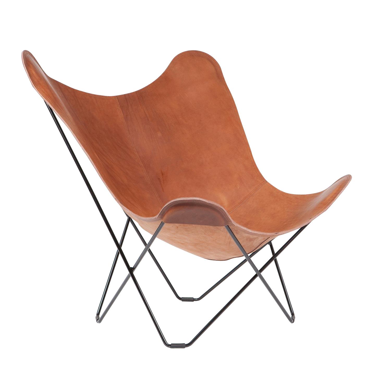 cuero - Pampa Mariposa Butterfly Chair - Fauteuil - brun/Montana 65/PxHxP 87x92x86cm/structure noire