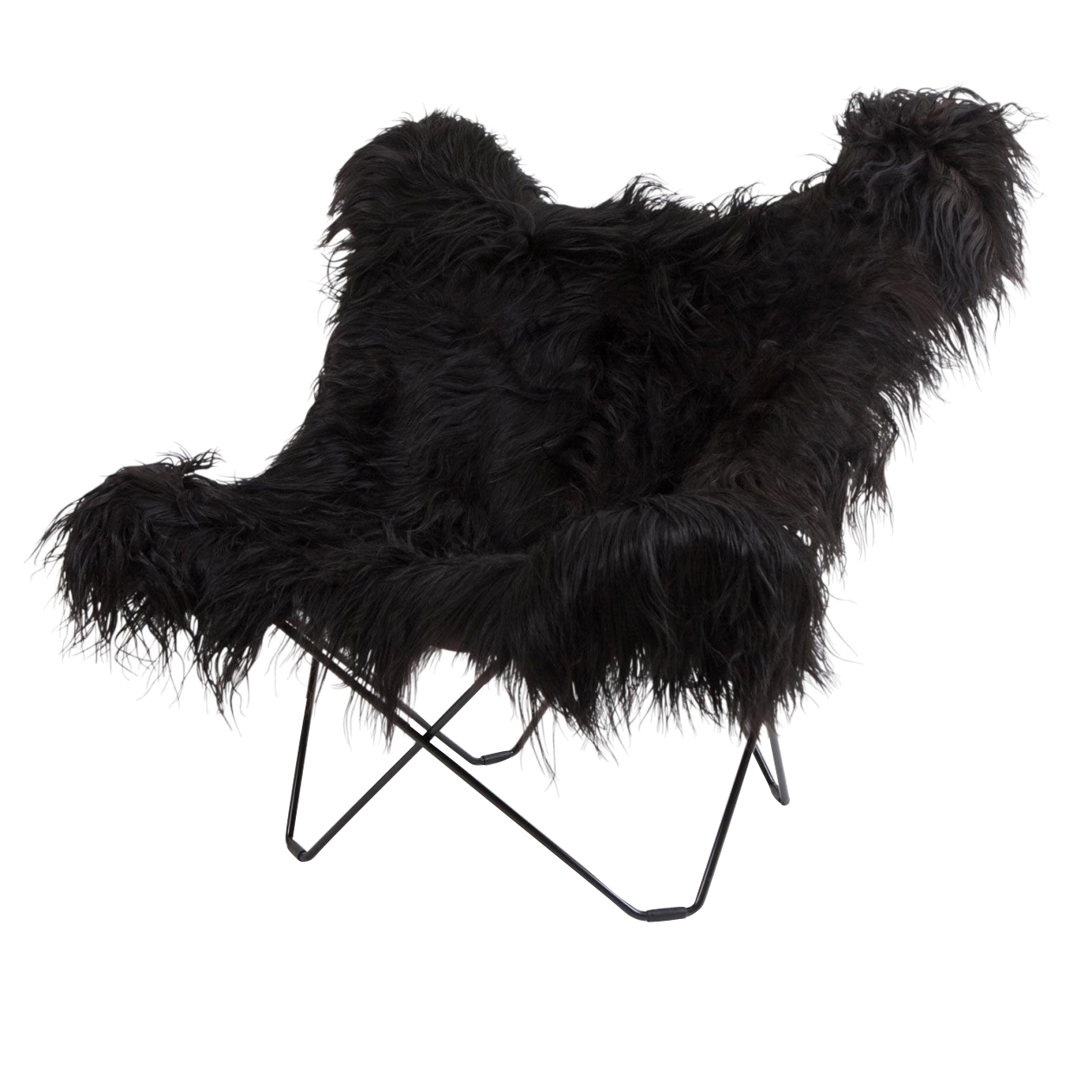 cuero - Iceland Mariposa Butterfly Chair - Fauteuil - noir/agneau islandais Wild Black/structure noir