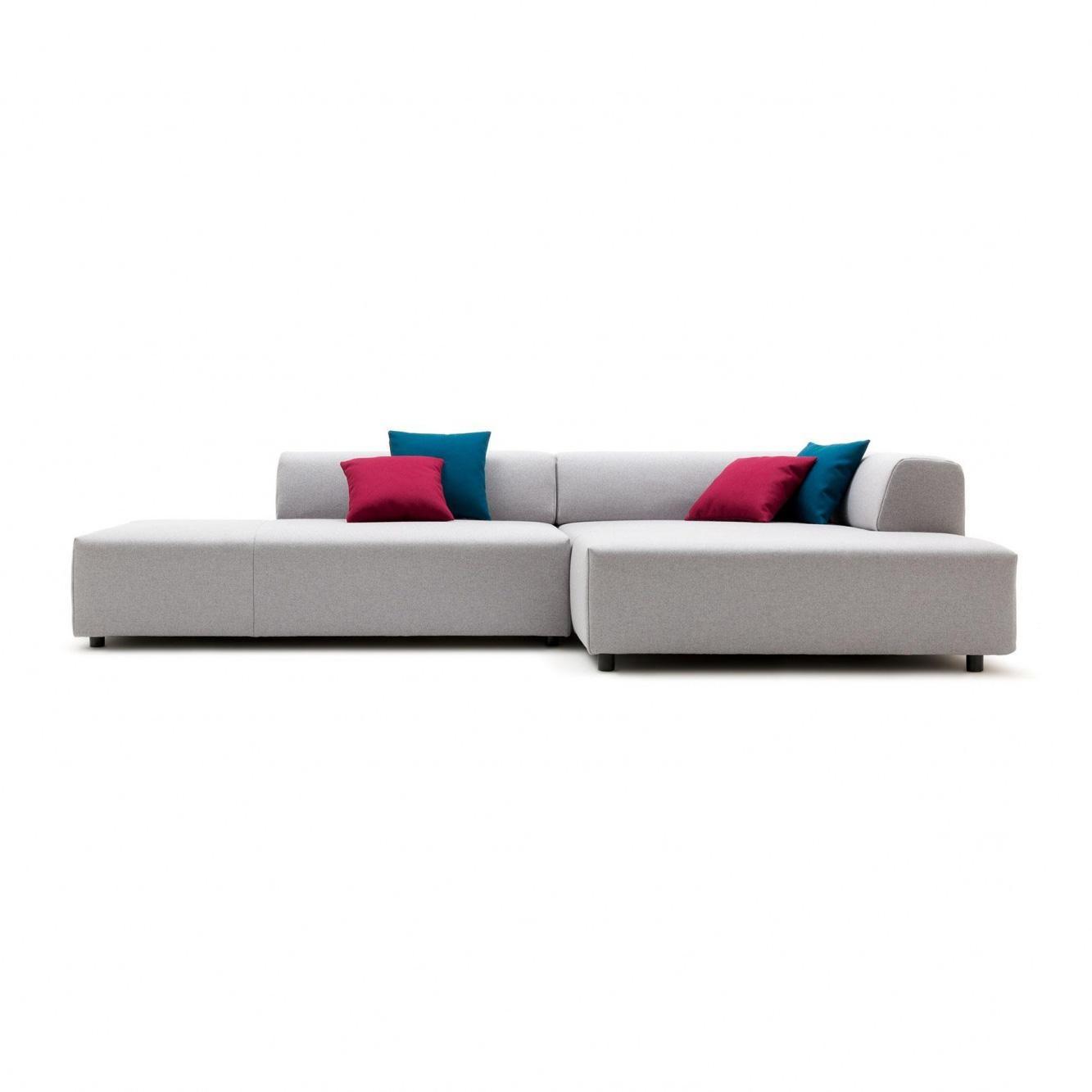 freistil Rolf Benz - freistil 184 - Canapé lounge 288x160cm - gris argent/étoffe 7405 (100 % laine vierge)/avec 4 coussins à 35x35cm enveloppe 74