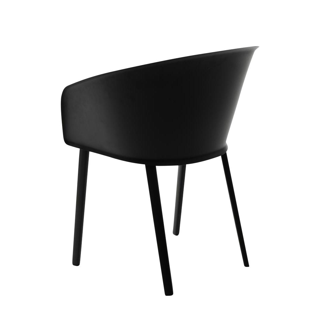 Kettal - Stampa Solid - Chaise avec accoudoirs - noir/sans coussins/PxHxP 57x80x68cm/structure aluminium 726 manganèse
