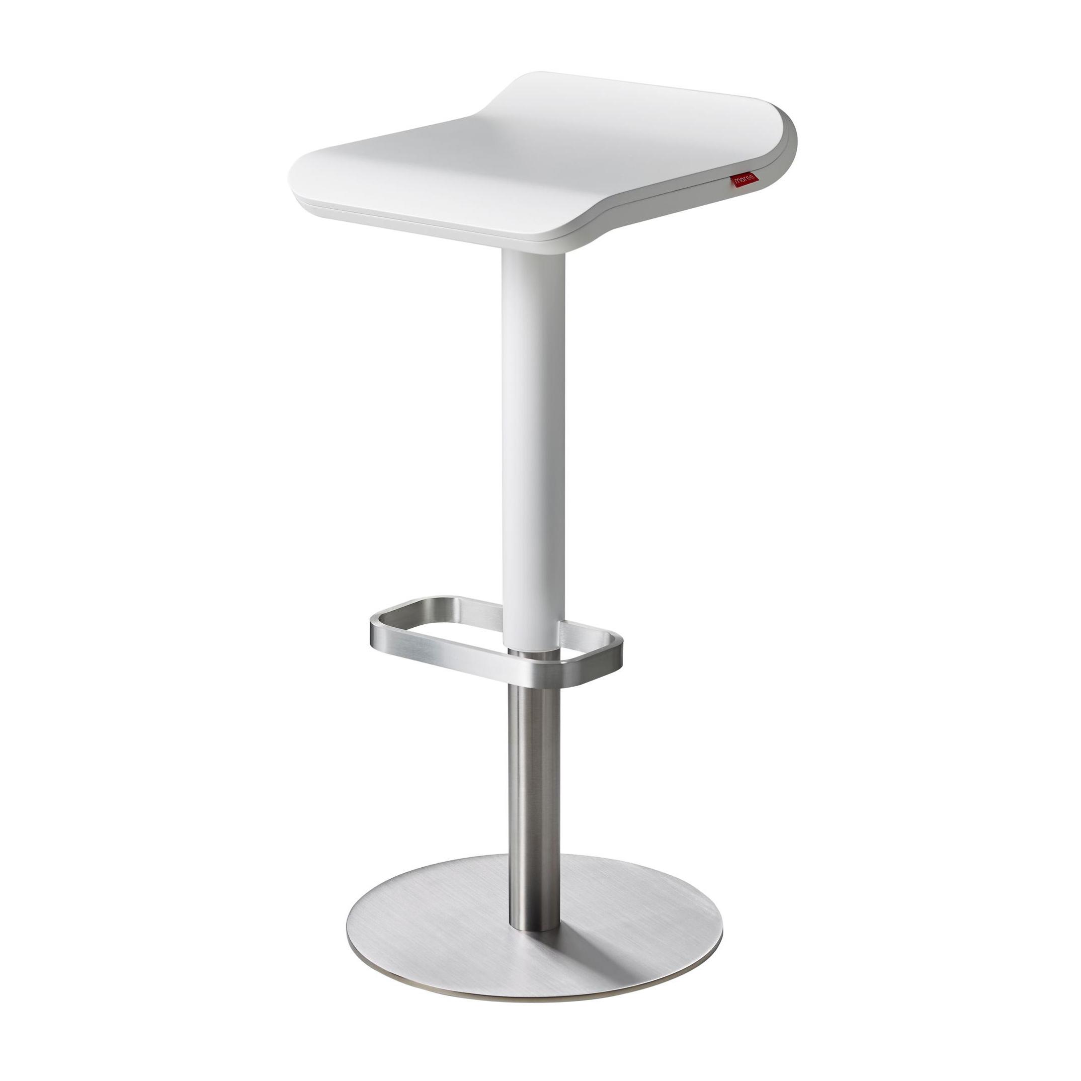 Moree - ED - Tabouret de bar - blanc/siège laqué/max. H81cm/min. H55,5cm/360° rotatif