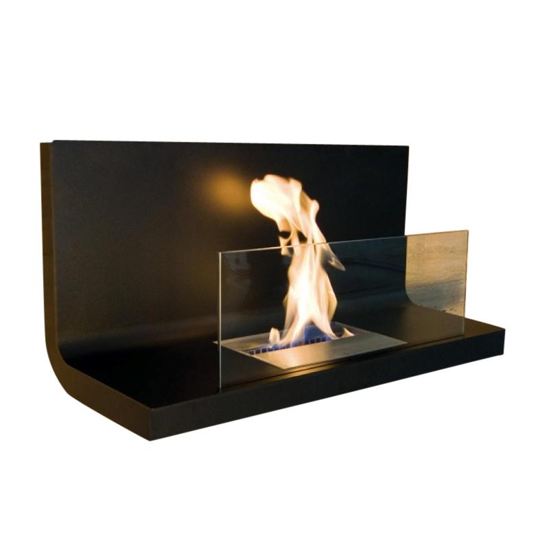 Radius - Wall Flame 1 Kaminfeuer / Wandkamin - transparent| schwarz/Edelstahl schwarz/1|7 l Brennkammer | Wohnzimmer > Kamine & Öfen | Transparent|schwarz | Edelstahl| stahl| glas | Radius