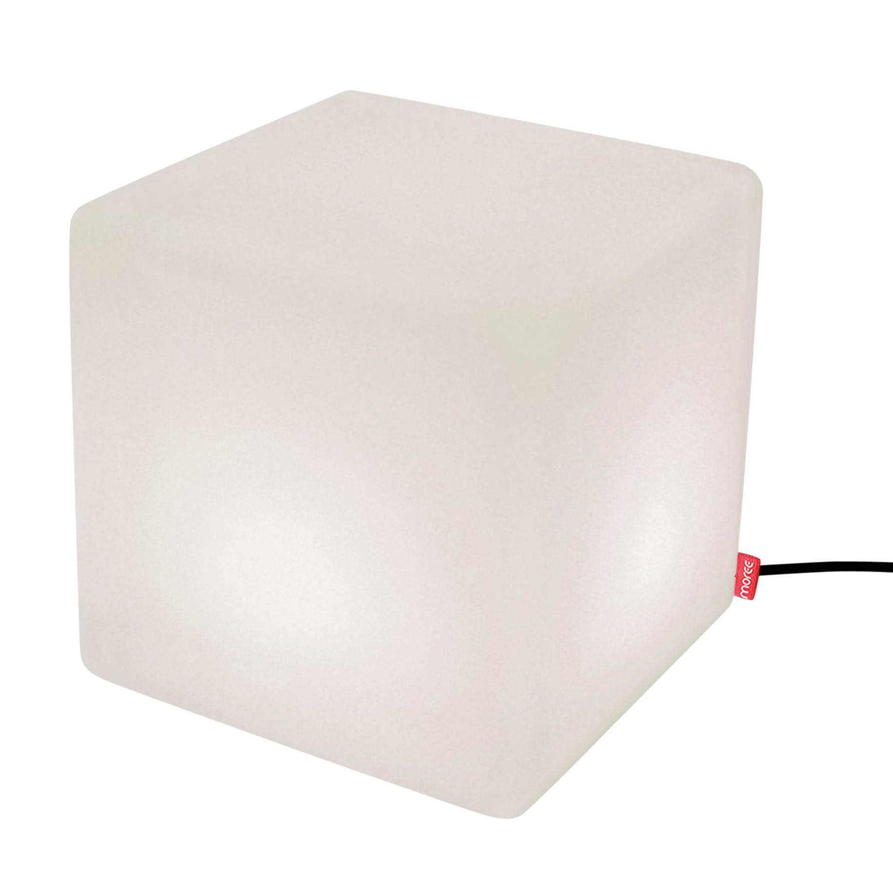 Moree - Cube LED Indoor Sitzwürfel - weiß/ABS-Kunststoff/mit IR Fernbedienug/44x44x45cm/mit 3m Kabel| inkl. Fußschalter | Wohnzimmer > Hocker & Poufs > Sitzwürfel | Weiß | Pmma-beschichteter abs-kunststoff | Moree