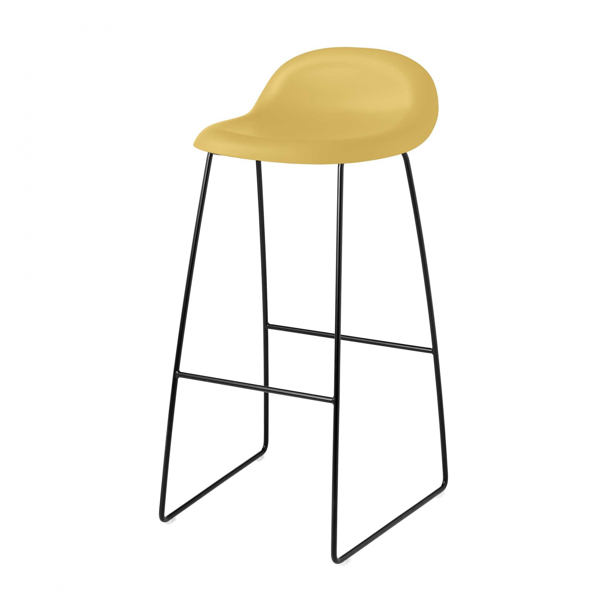 Gubi - 3D Bar Stool 75cm Kufengestell schwarz - gold venezianisch/Sitzfläche HiRek Kunststoff/BxHxT 44x88x45cm/Gestell schwarz/Kunststoffgleiter   Küche und Esszimmer > Bar-Möbel   Gubi