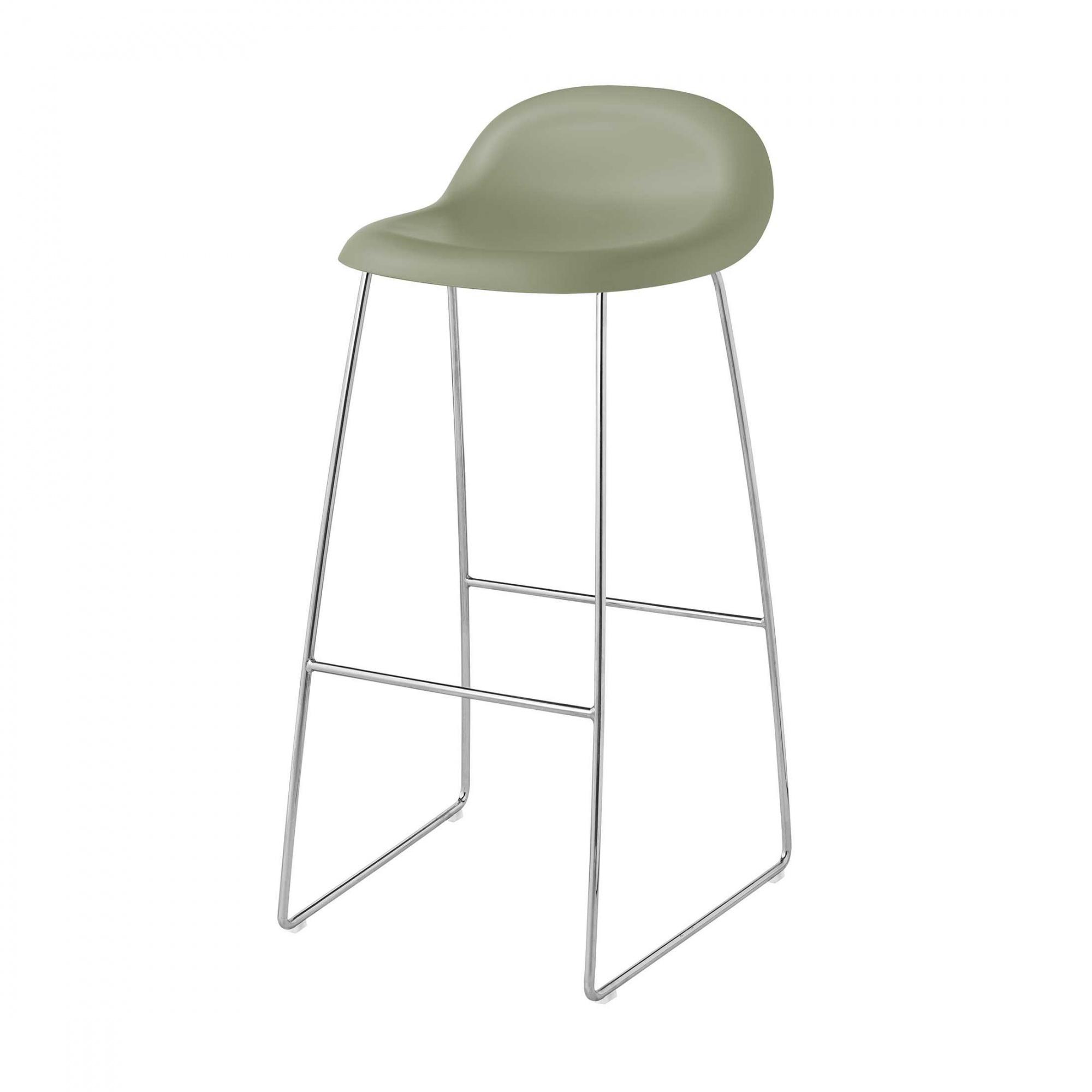 Gubi 3D Bar Stool Kufengestell Chrom - mistelgrün/Sitzfläche HiRek Kunststoff/BxHxT 44x88x45cm/Gestell Chrom/Kunststoffgleiter   Küche und Esszimmer > Bar-Möbel > Bars   Mistelgrün   Kunststoff  holz  chrom   Gubi