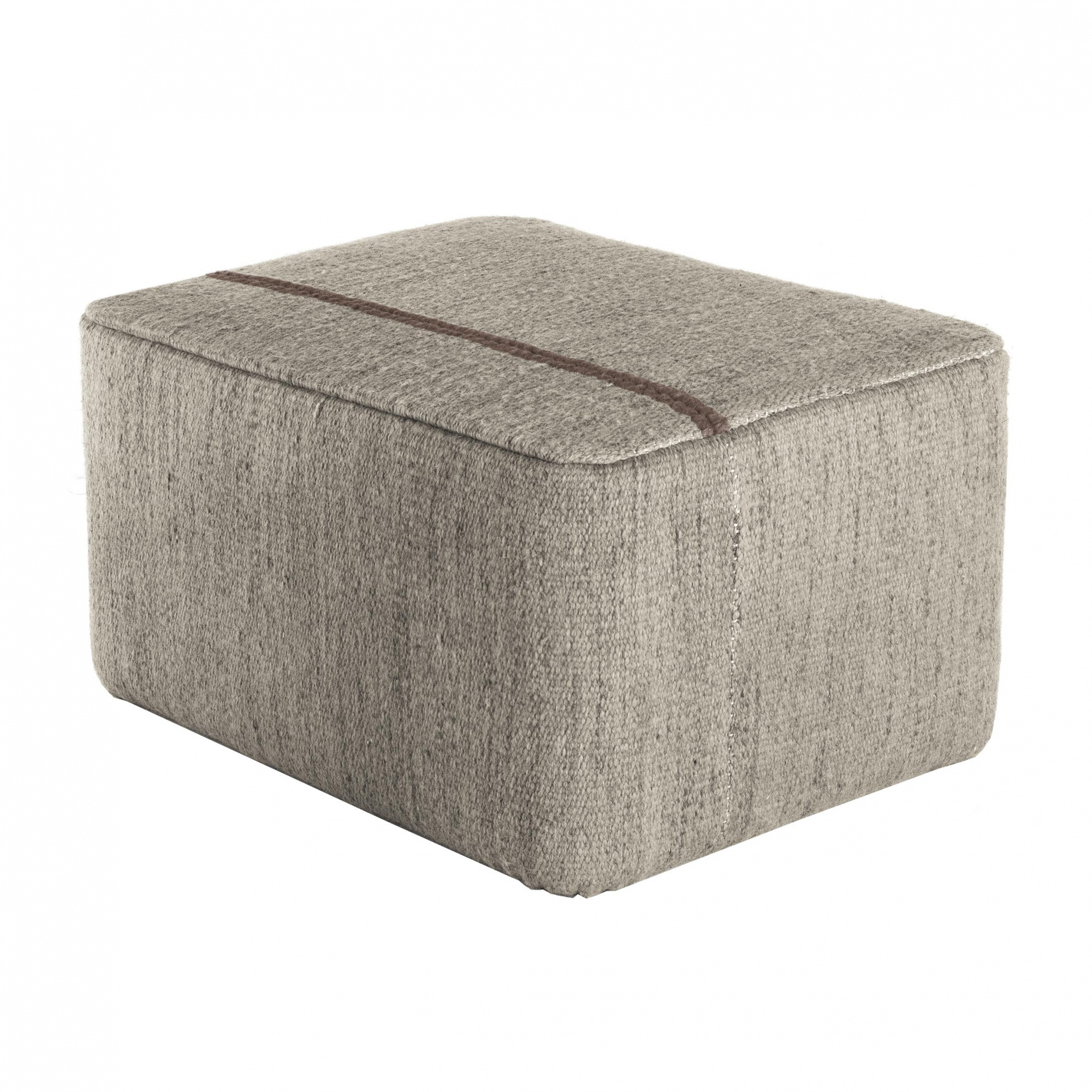Nanimarquina - Mía Pouf/Hocker - Stein/Kilim: 100% Neuseeländische Wolle/Dichte: 37.800 Knoten/m2/LxBxH 80x60x40cm
