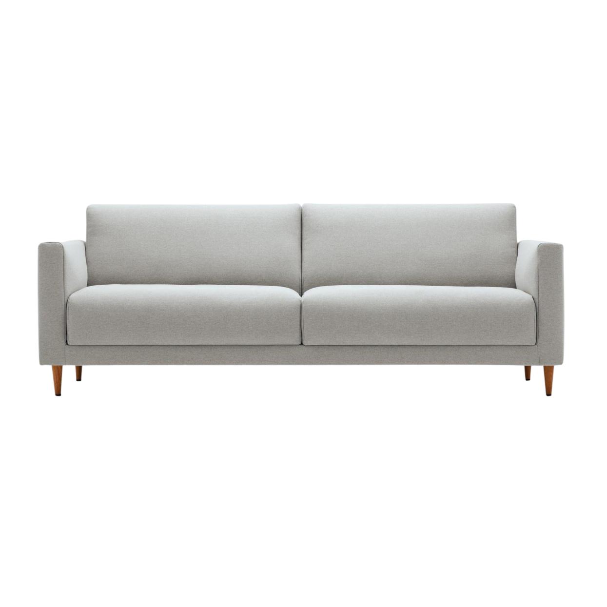 freistil Rolf Benz - freistil 141 - Canapé 3 places piètement en bois - gris clair/piètement chêne foncé/étoffe 3007 (100% polyester)/194x88x7
