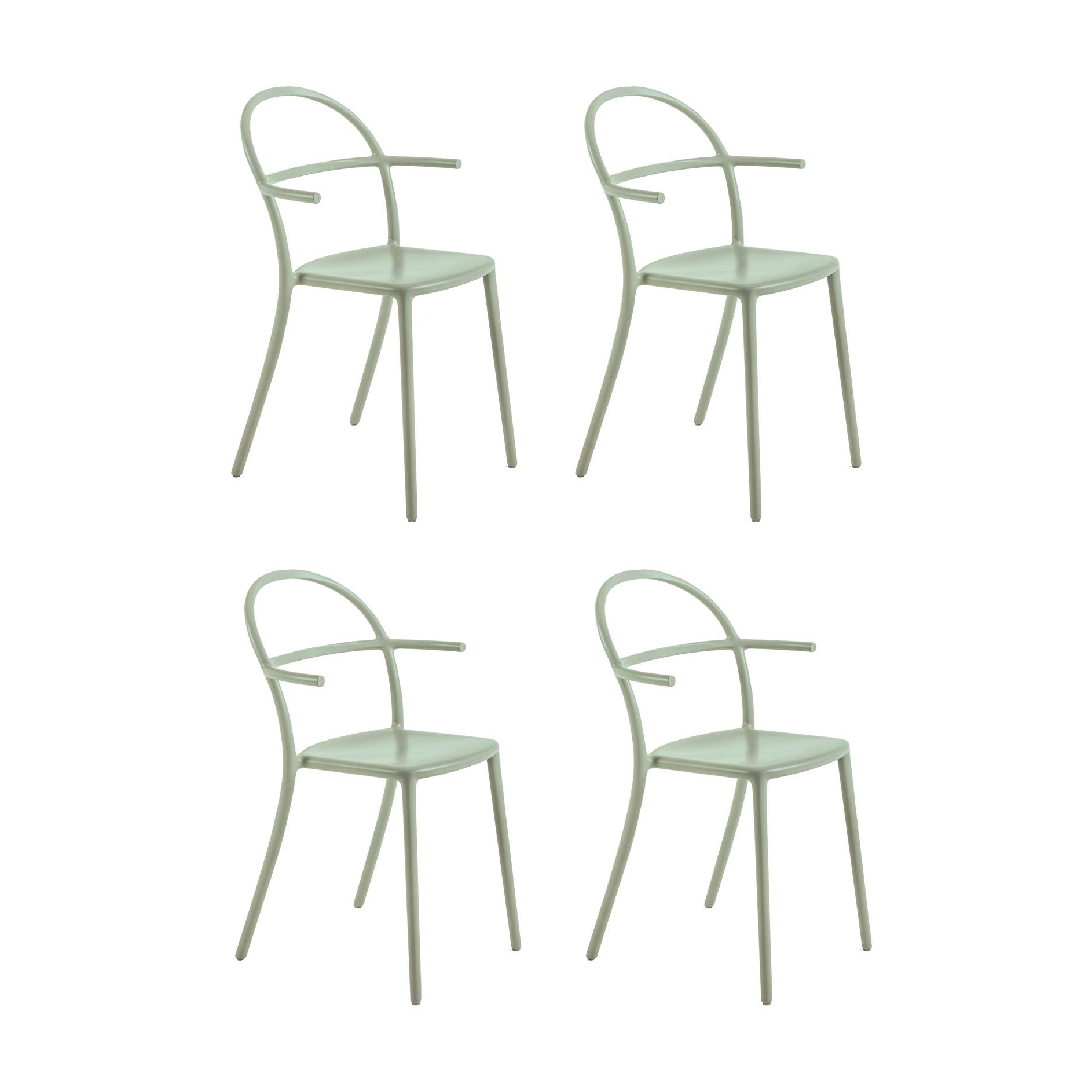 Kartell - Generic C Armlehnstuhl 4er Set - salbeigrün/BxHxT 52x83|5x51cm/Stapelbar | Küche und Esszimmer > Stühle und Hocker > Armlehnstühle | Salbeigrün | Polypropylen | Kartell