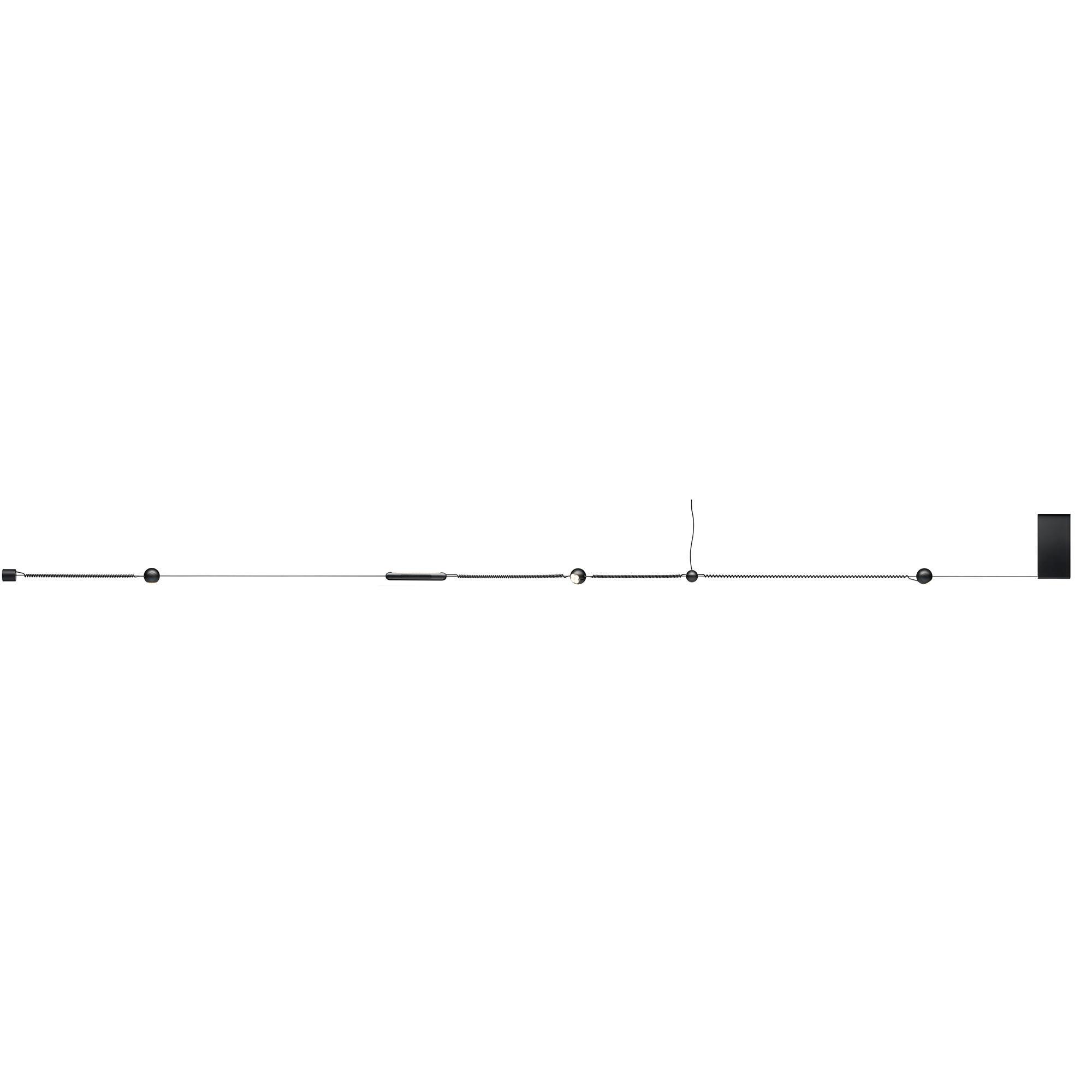 Belux - Hello LED Seilsystem Starterset - schwarz/60-200cm x Ø3.5cm  Spot Ø6cm/2700K/1120lm CRI>90   Lampen > Strahler und Systeme > Seilsysteme   Schwarz   Pmma  aluminium   Belux