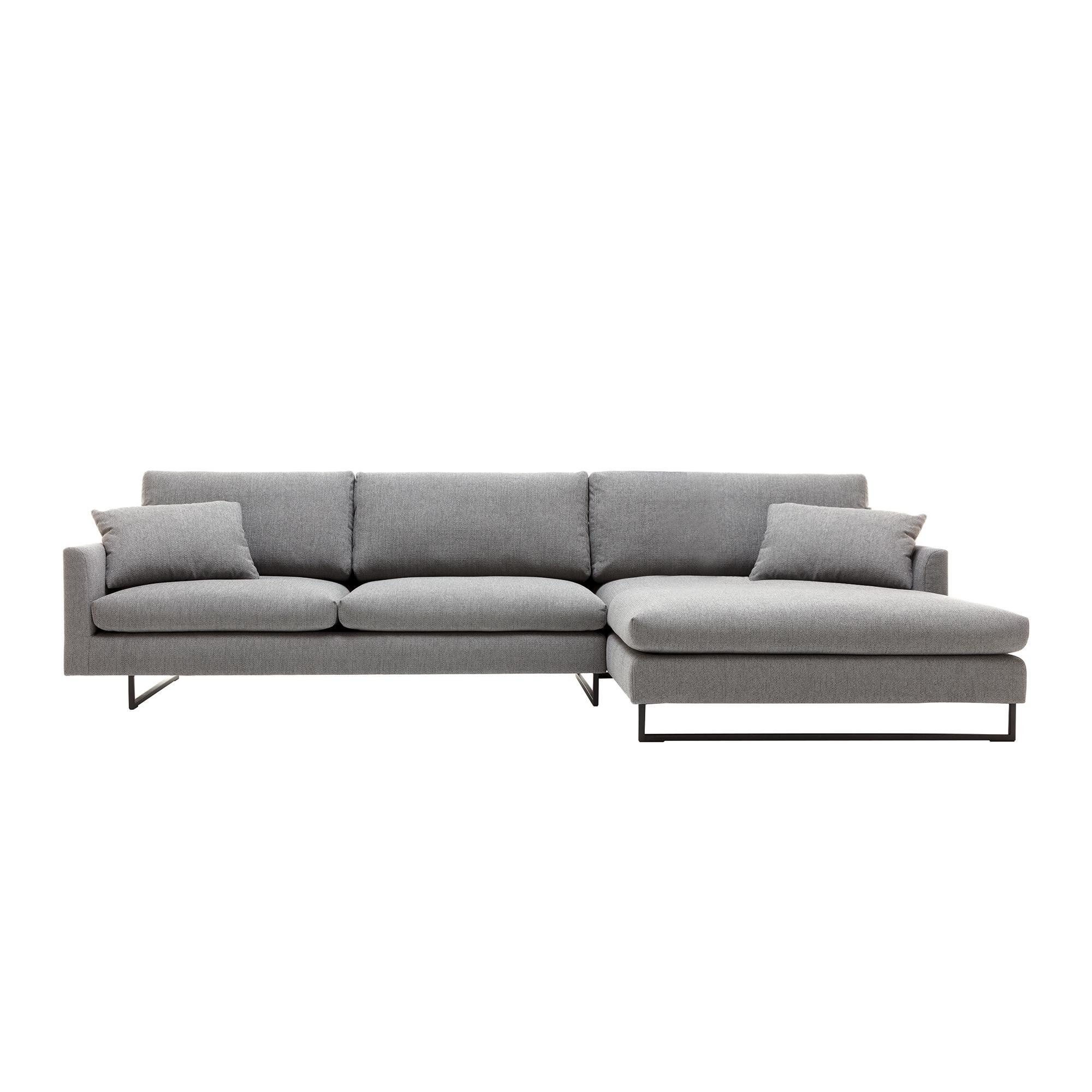 freistil Rolf Benz - freistil 134 - Canapé lounge 330x177cm - gris fer/étoffe 6313/PxHxP 64x98x112cm/tube carré pour patin en acier noir