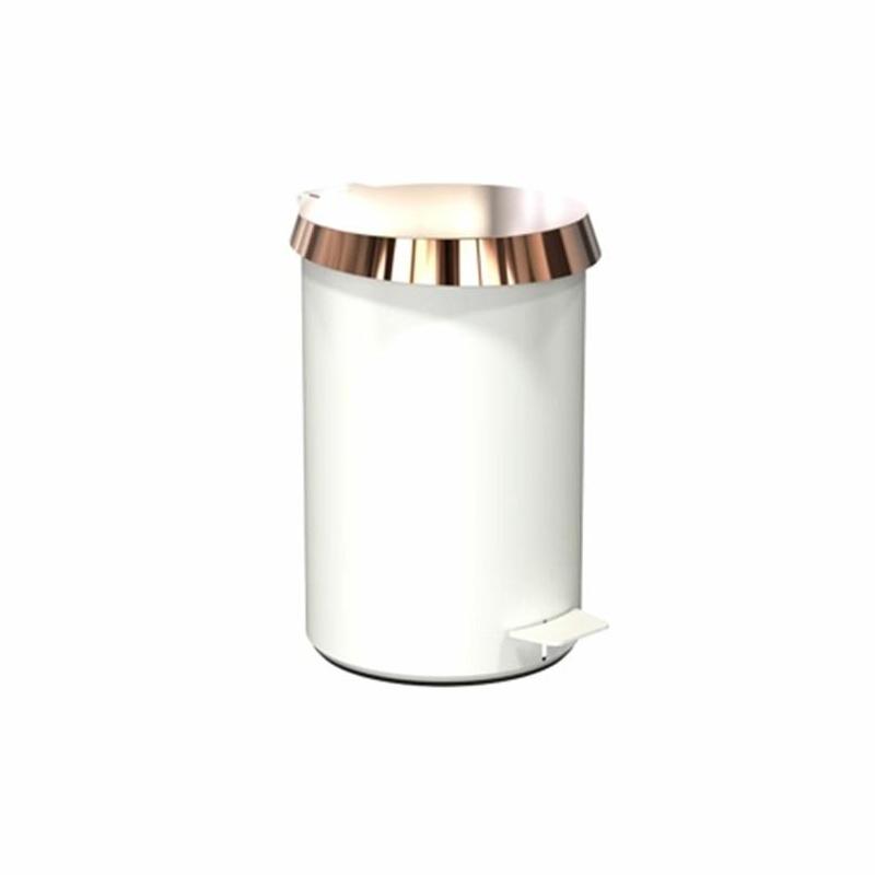 FROST - Pedal Bin 350 Pedaleimer/Treteimer - weiß/Deckel kupfer/H 36.3cm/Ø 23cm/iF Design Award 2018   Bad > Bad-Accessoires > Kosmetikeimer   FROST
