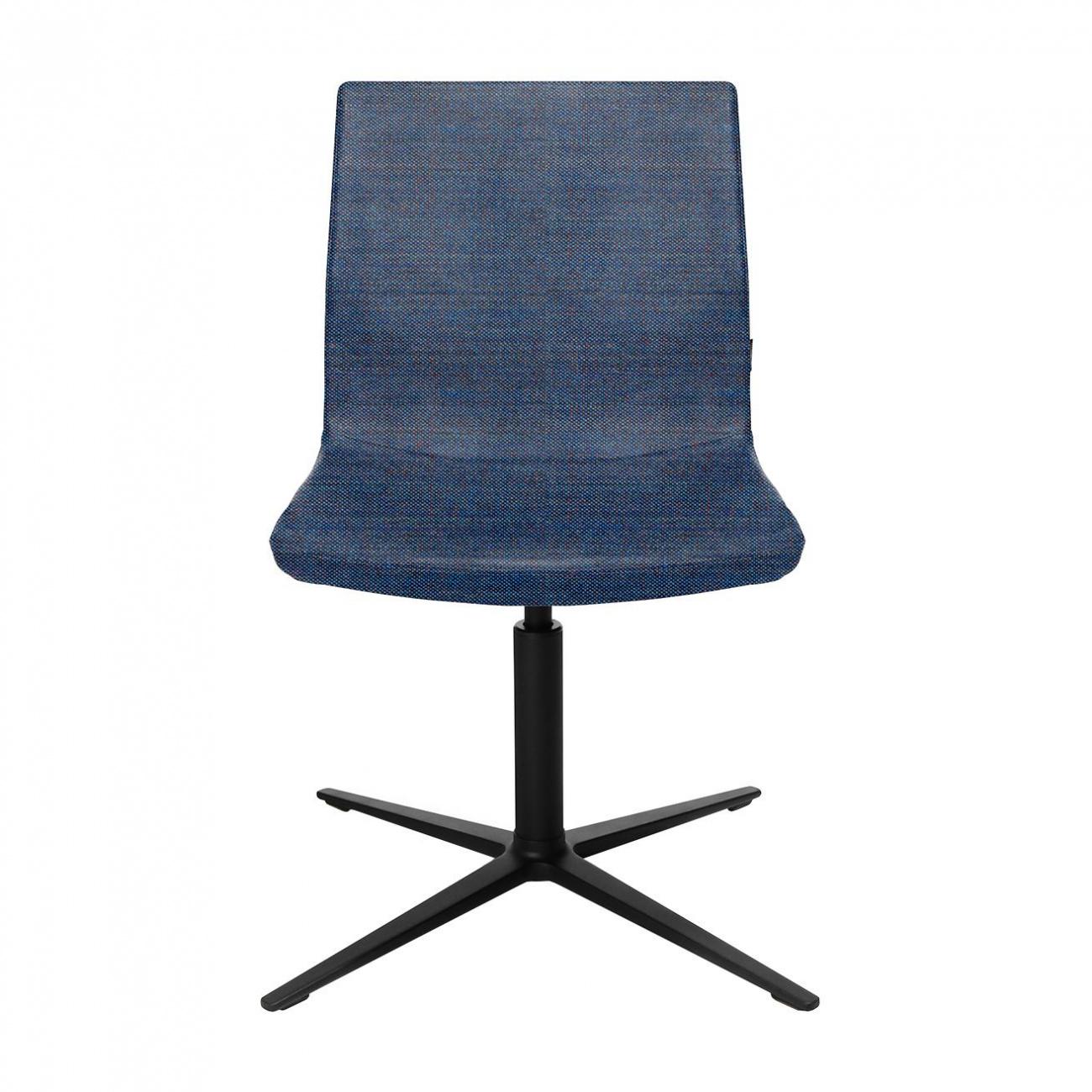 Wagner - W-Cube 4 - Chaise de conférence - bleu foncé/siège étoffe Kvadrat Remix 2 743/PxP 72x72cm/H 84-88cm/patins incl./structure aluminium no