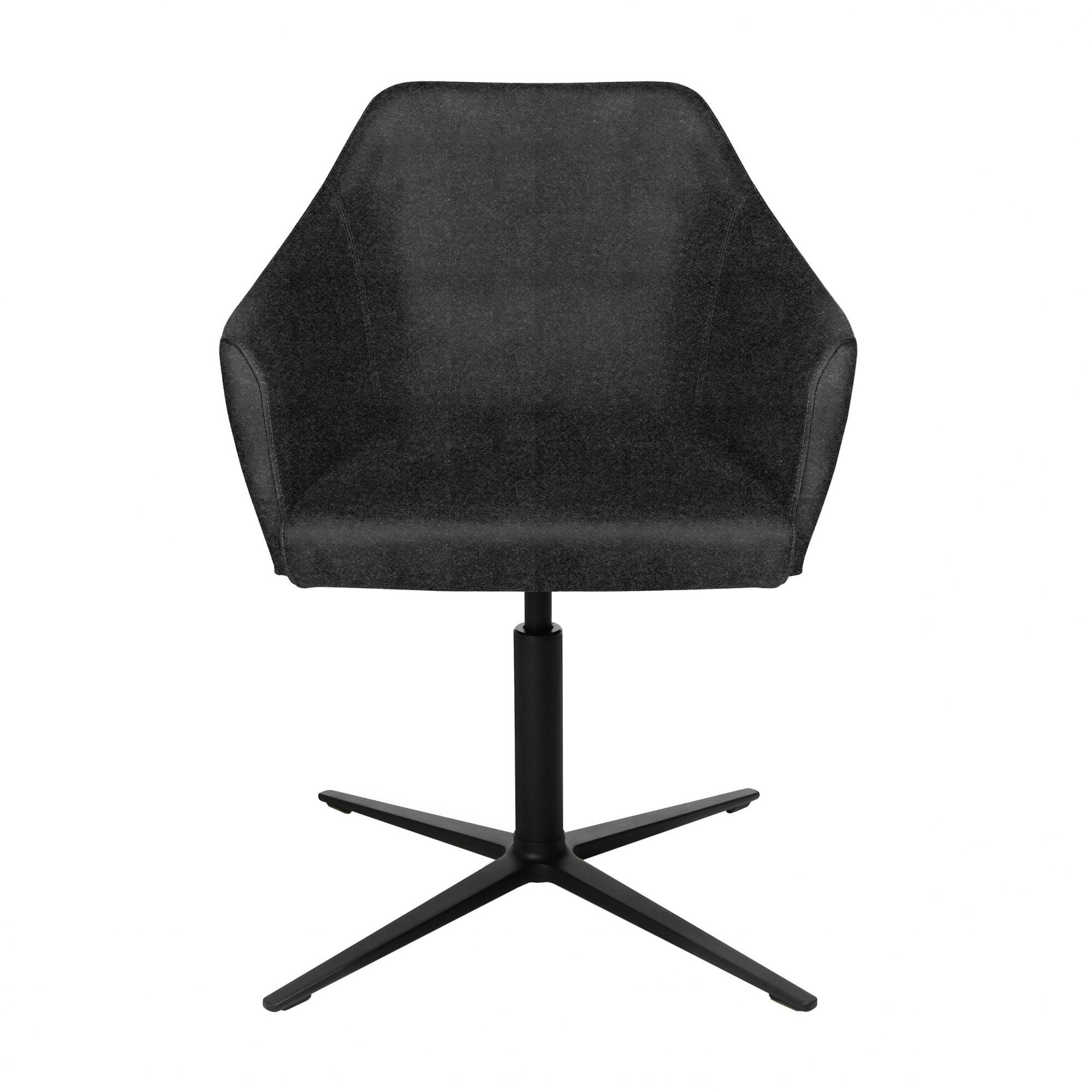 Wagner - W-Cube 5 - Chaise de conférence - gris foncé/étoffe laine mélangée gris foncé L5/PxP 72x72cm/H 79-83cm/patins incl./structure alumini