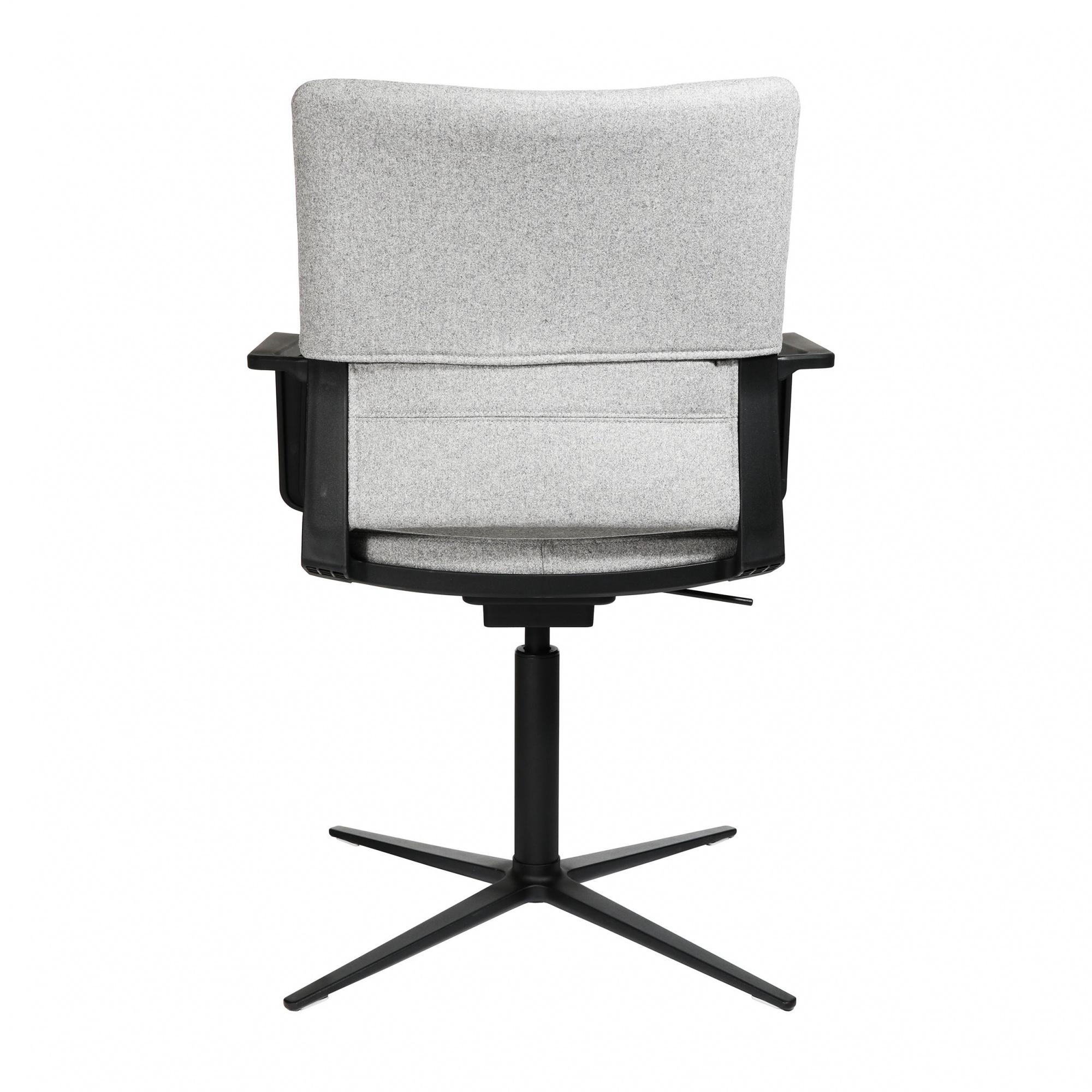 Wagner - W70 H 3D - Chaise de conférence - gris/étoffe Kvadrat KV21/PxP 72x72cm/H 90-96cm/patins incl./structure aluminium noir graphite mat