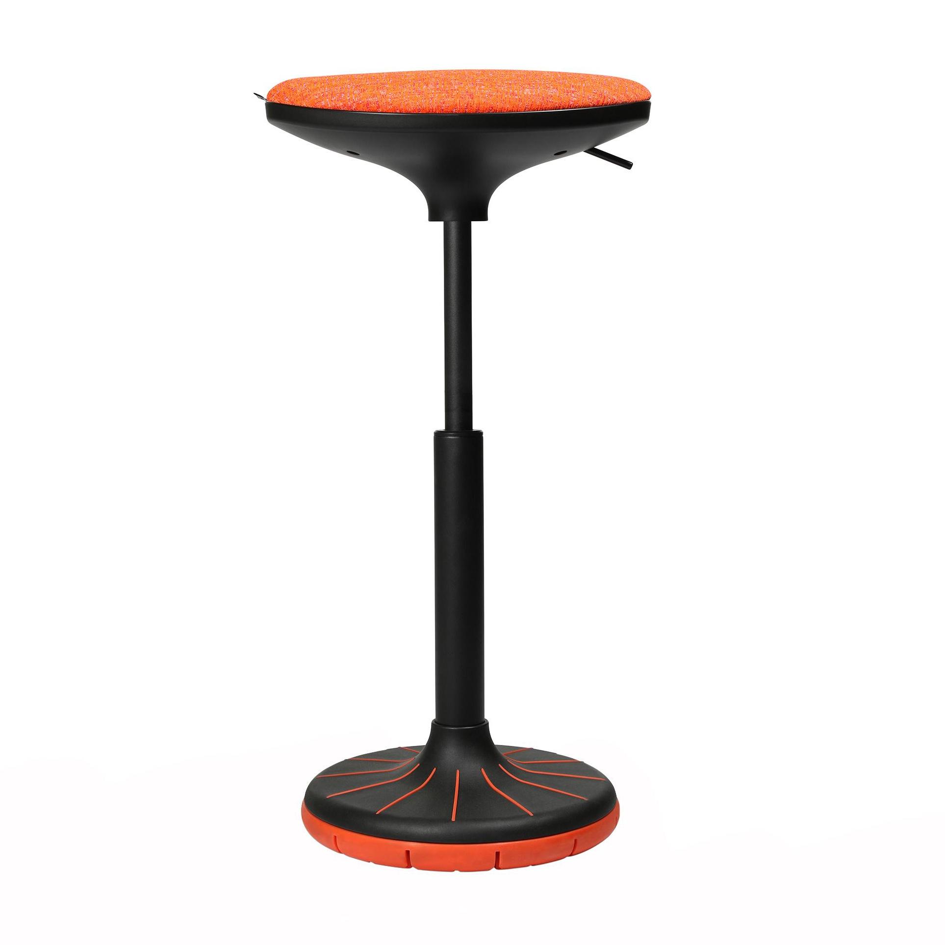 Wagner - W3 - Tabouret 3D - noir/orange/siège étoffe BV1 orange/PxP 38x32cm/H 57-79cm/patins incl./structure noire/ plante du pied orange