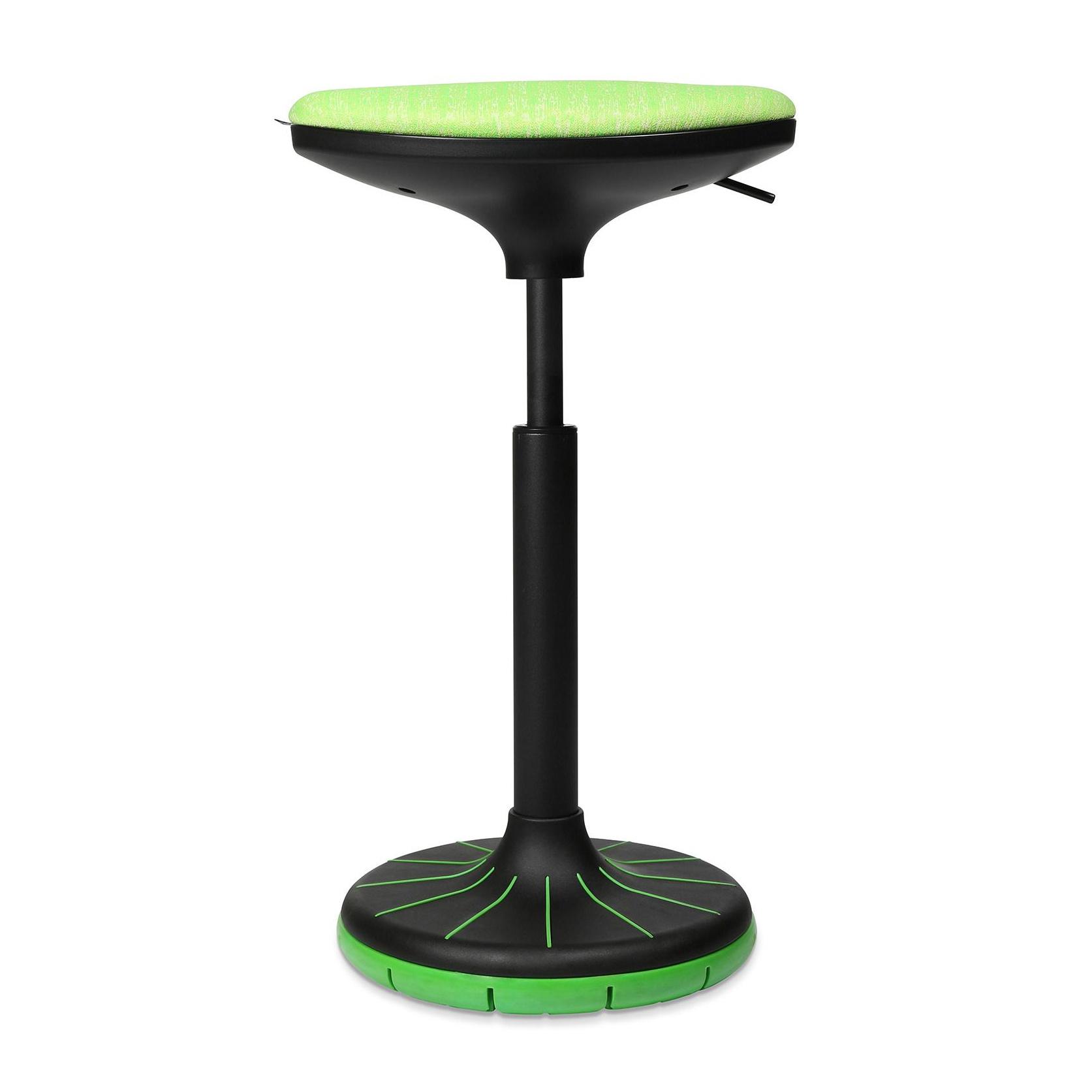 Wagner - W3 - Tabouret 3D - noir/vert/siège étoffe BV2 vert/PxP 38x32cm/H 57-79cm/patins incl./structure noire/ plante du pied vert
