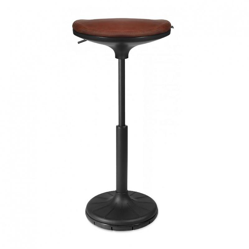 Wagner - W3 - Tabouret 3D - noir/cognac/siège cuir Vintage cognac V99/PxP 38x32cm/H 57-79cm/patins incl./structure noire/ plante du pied noir
